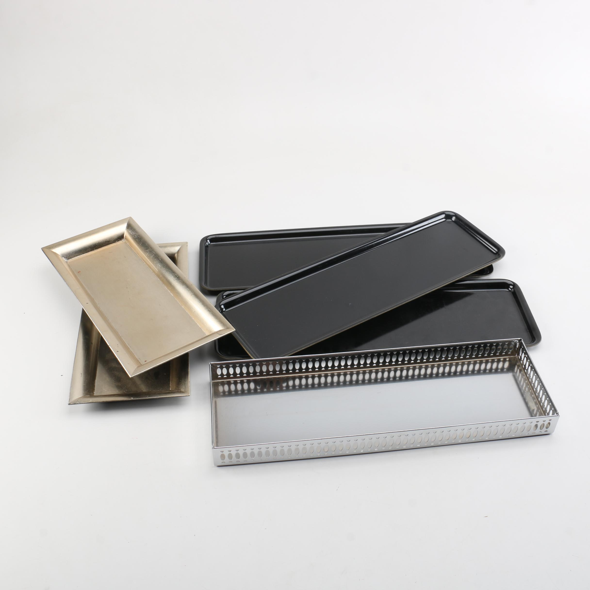 Collection of Six Decorative Trays Including Ikea