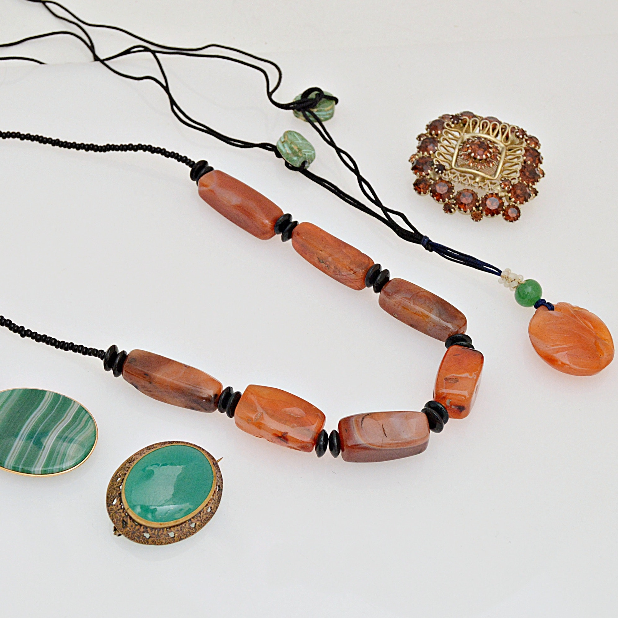 Vintage Gold Tone Pendant Necklaces and Brooches with Agate and Glass