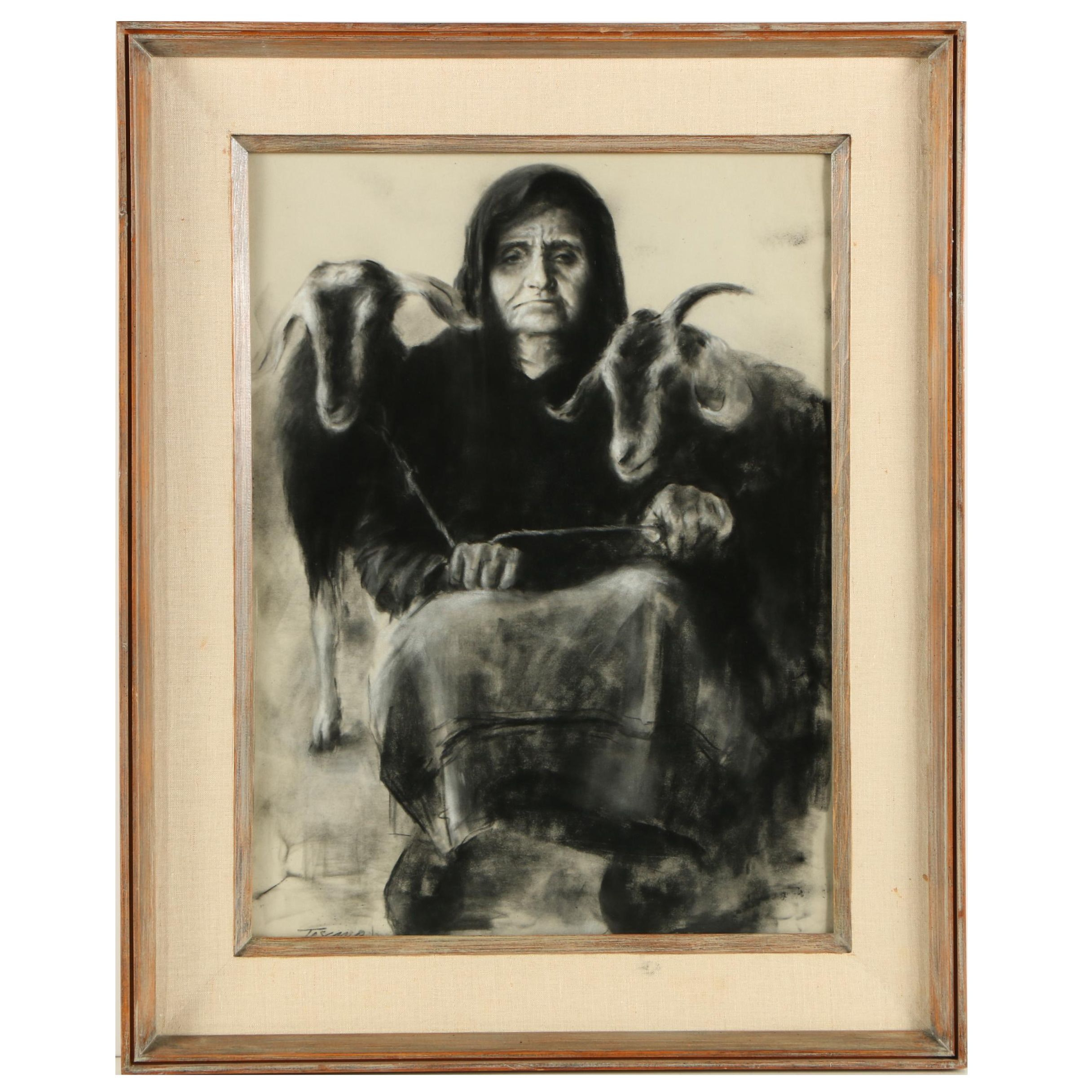 """Dee Toscano Charcoal Drawing """"Goat Lady"""""""