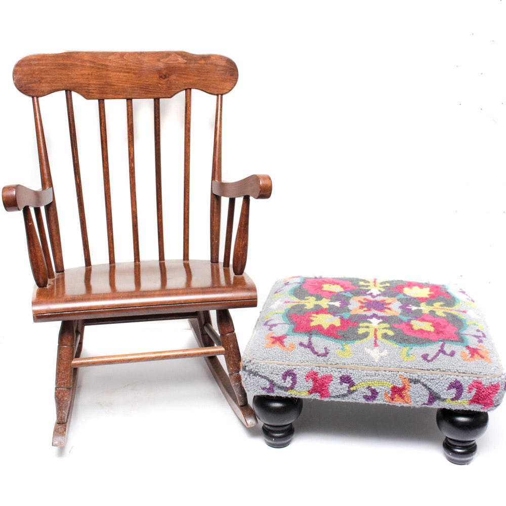 Needlepoint Ottoman and Child's Rocking Chair