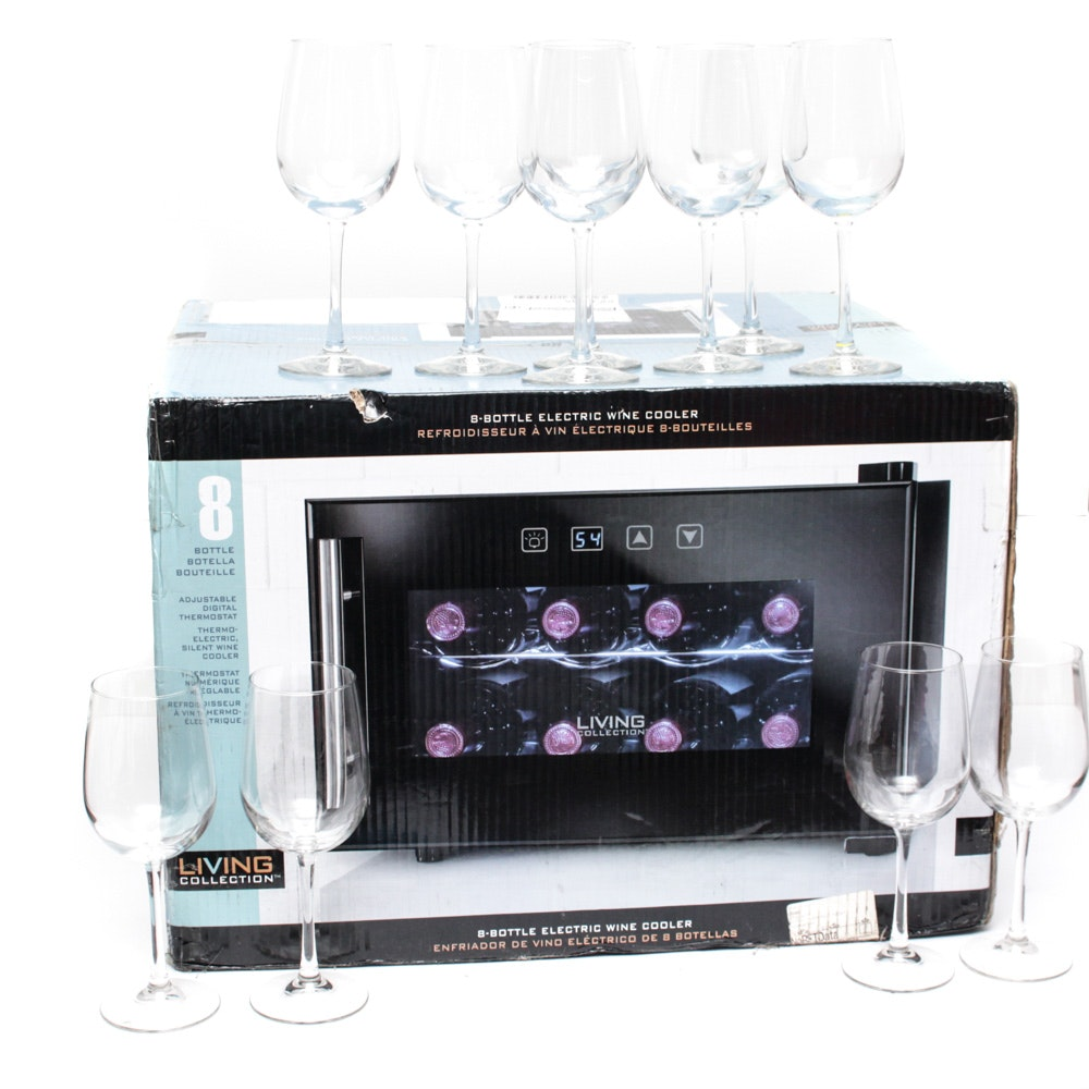 Wine Refrigerator and Stemware