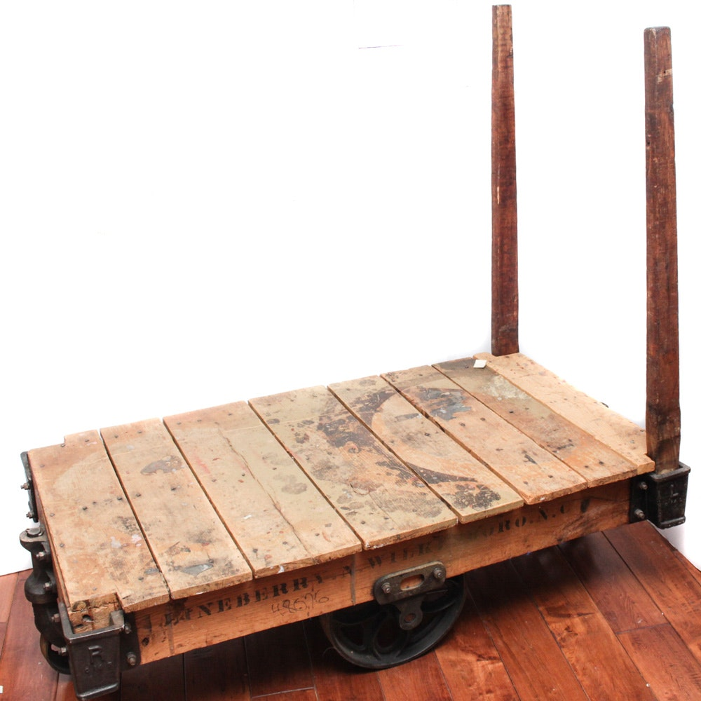 Antique Lineberry Industrial Wood and Cast Iron Factory Dolly