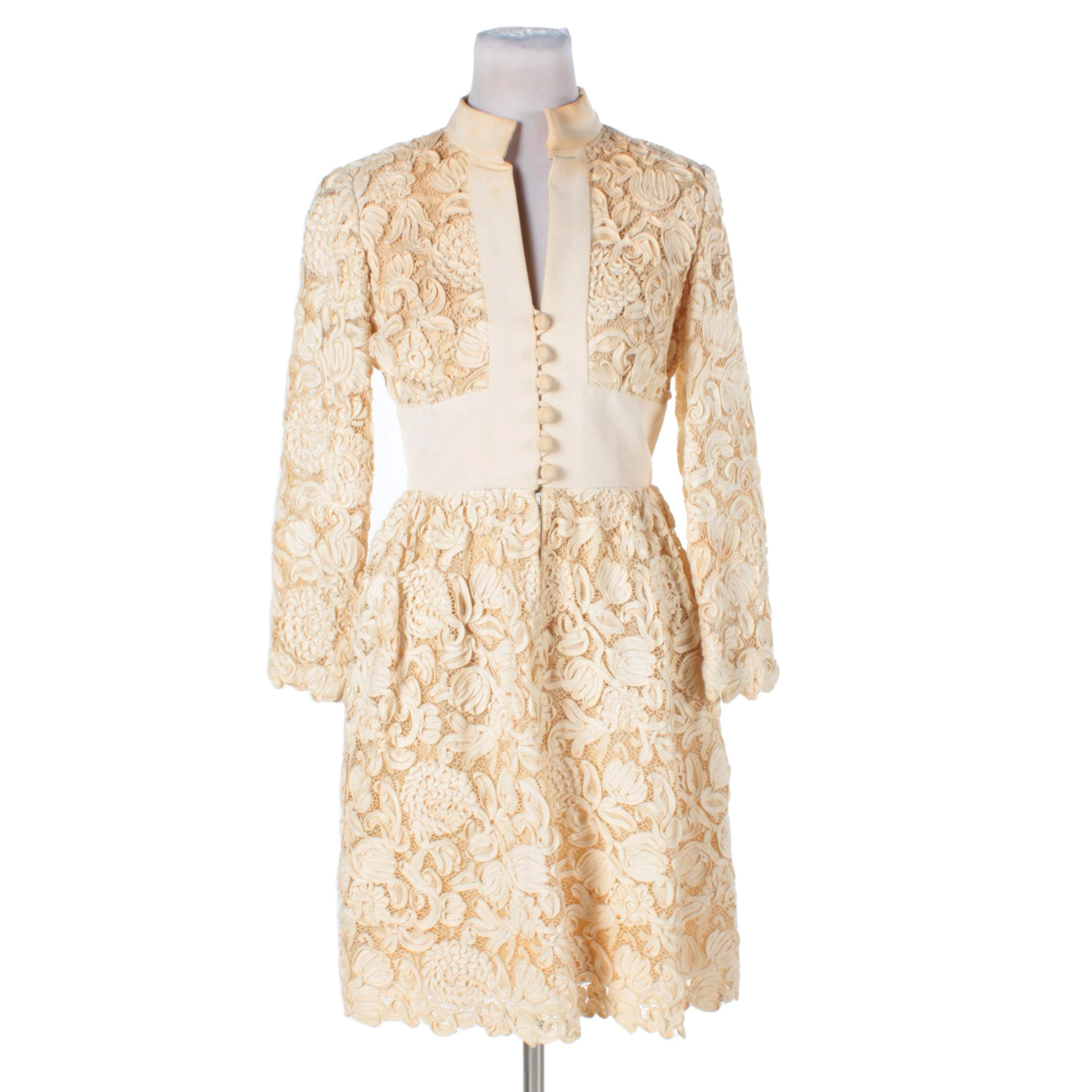1960s Teal Traina Mod Cream-Colored Battenburg Lace Dress