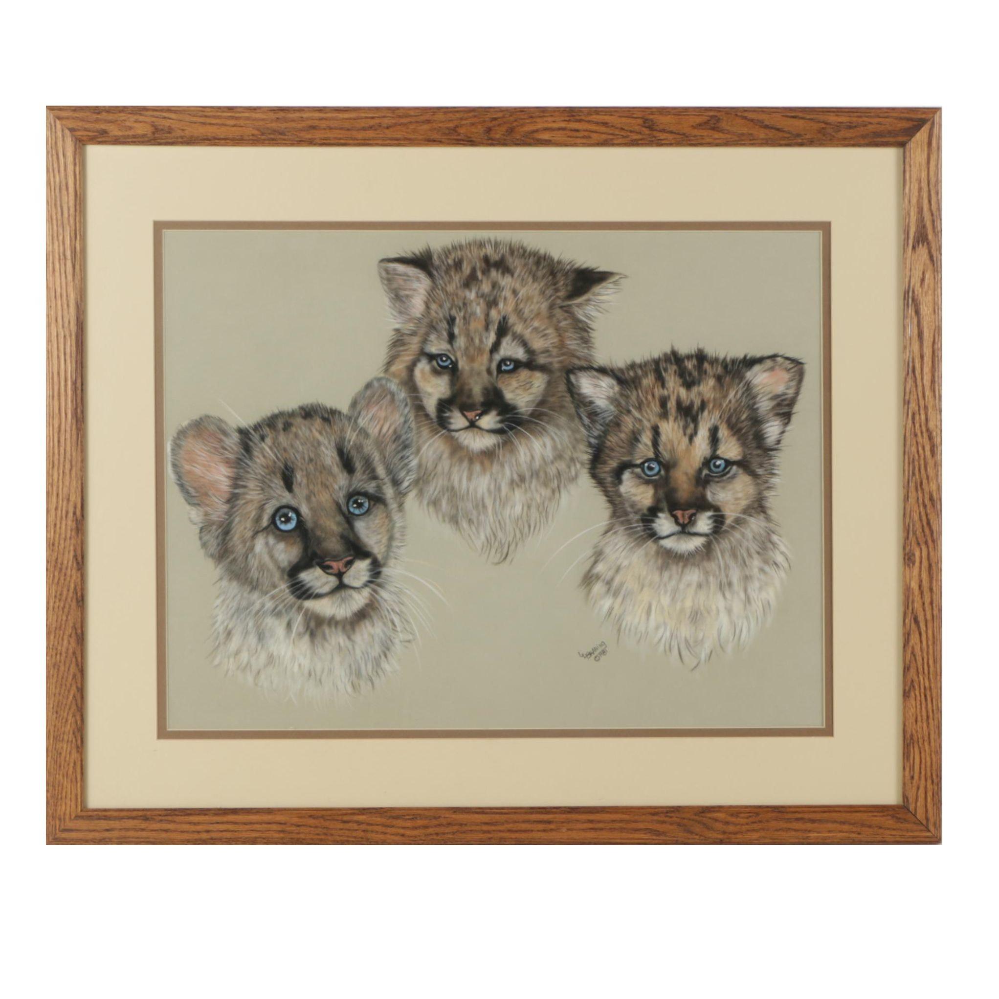 "L.L. Braning Pastel Drawing ""Cougar Cubs"""