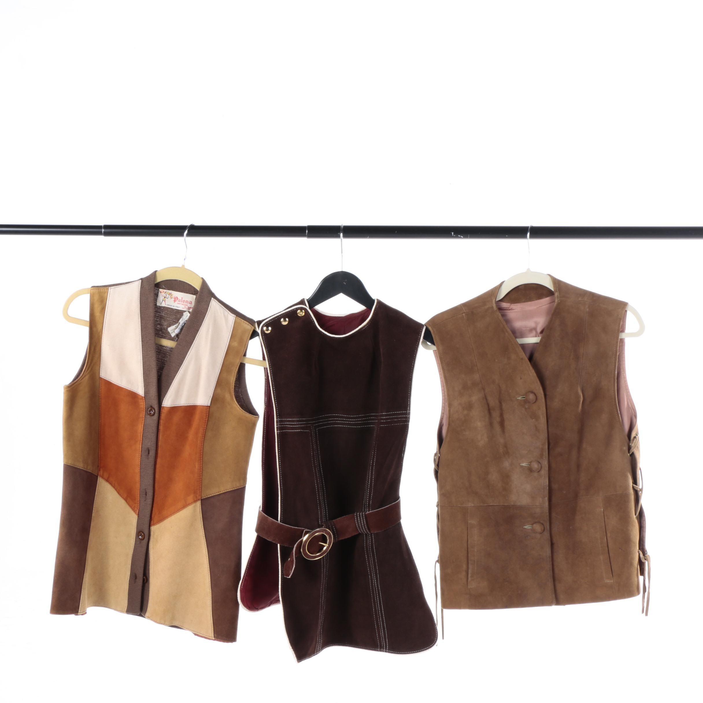 Women's Circa 1970s Vintage Suede Vests