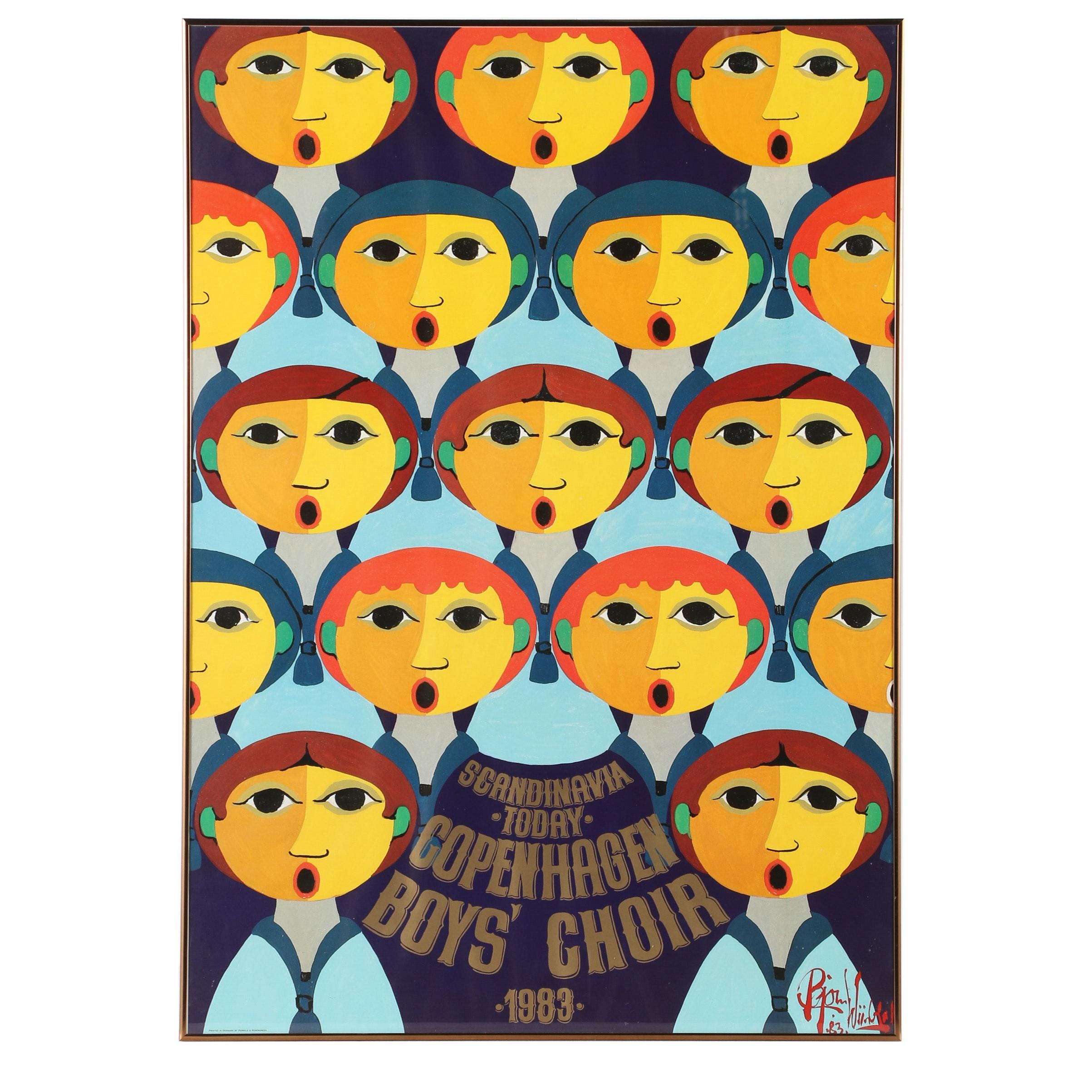 """Embellished Offset Lithograph Designed by Bjørn Wiinblad """"Copenhagen Boys Choir"""""""