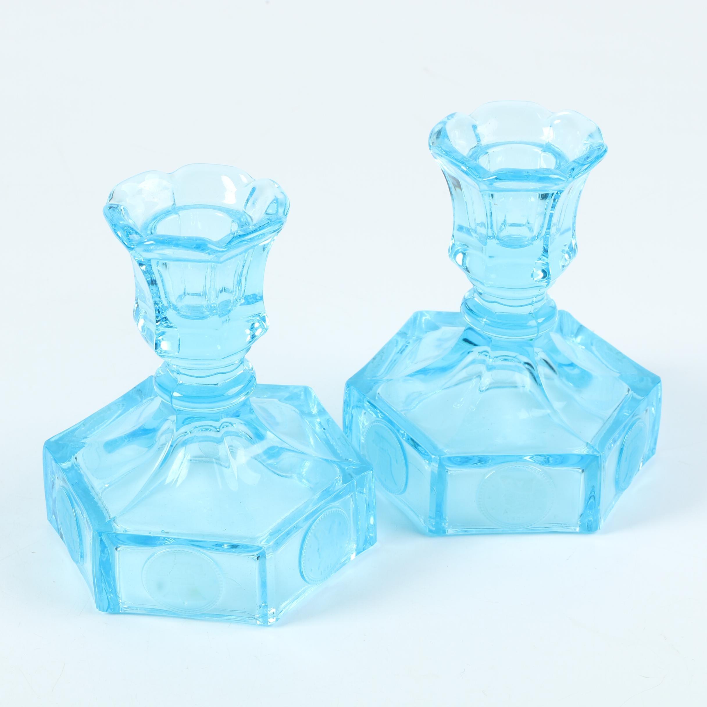Blue Glass Candlesticks