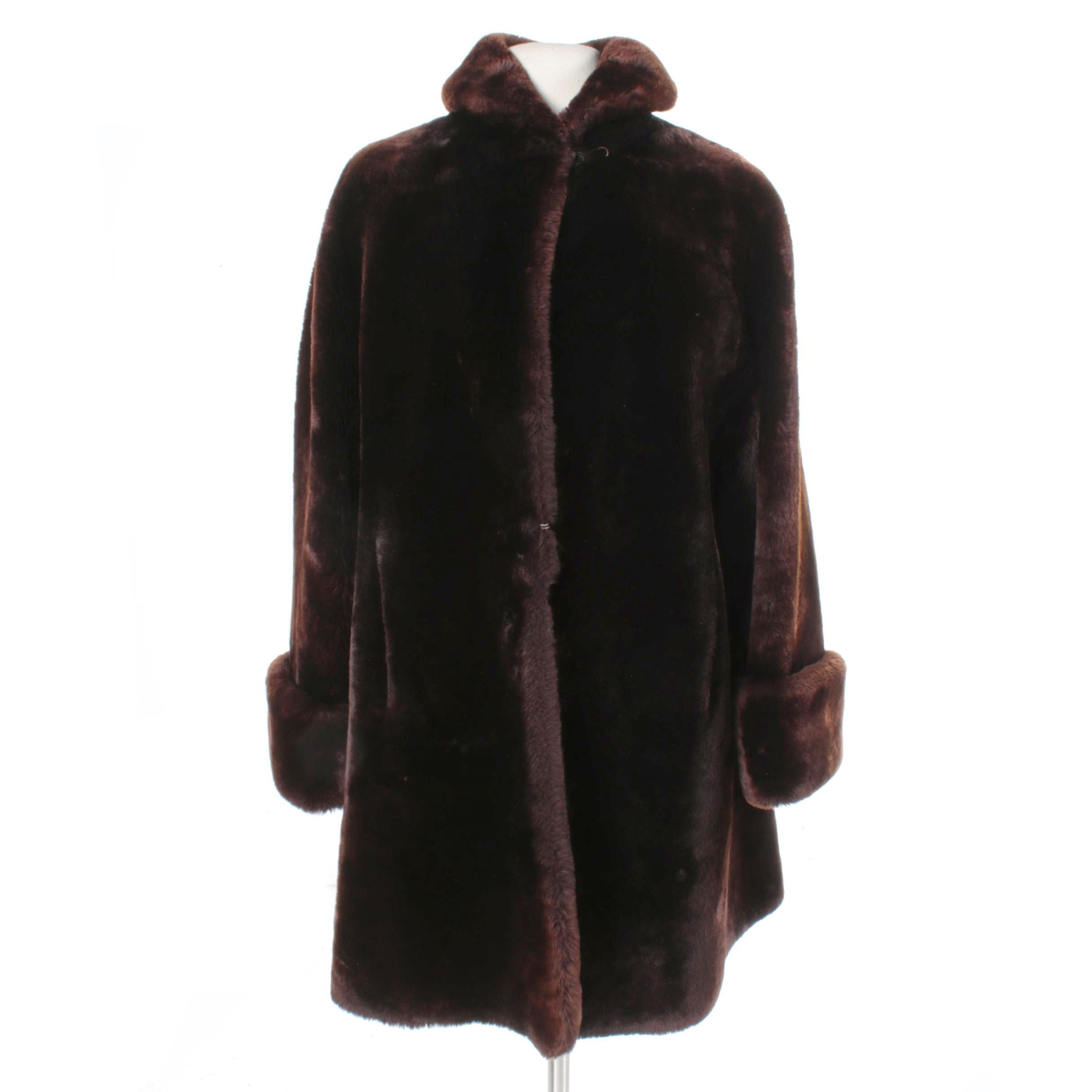 Vintage Brown Mouton Fur Coat