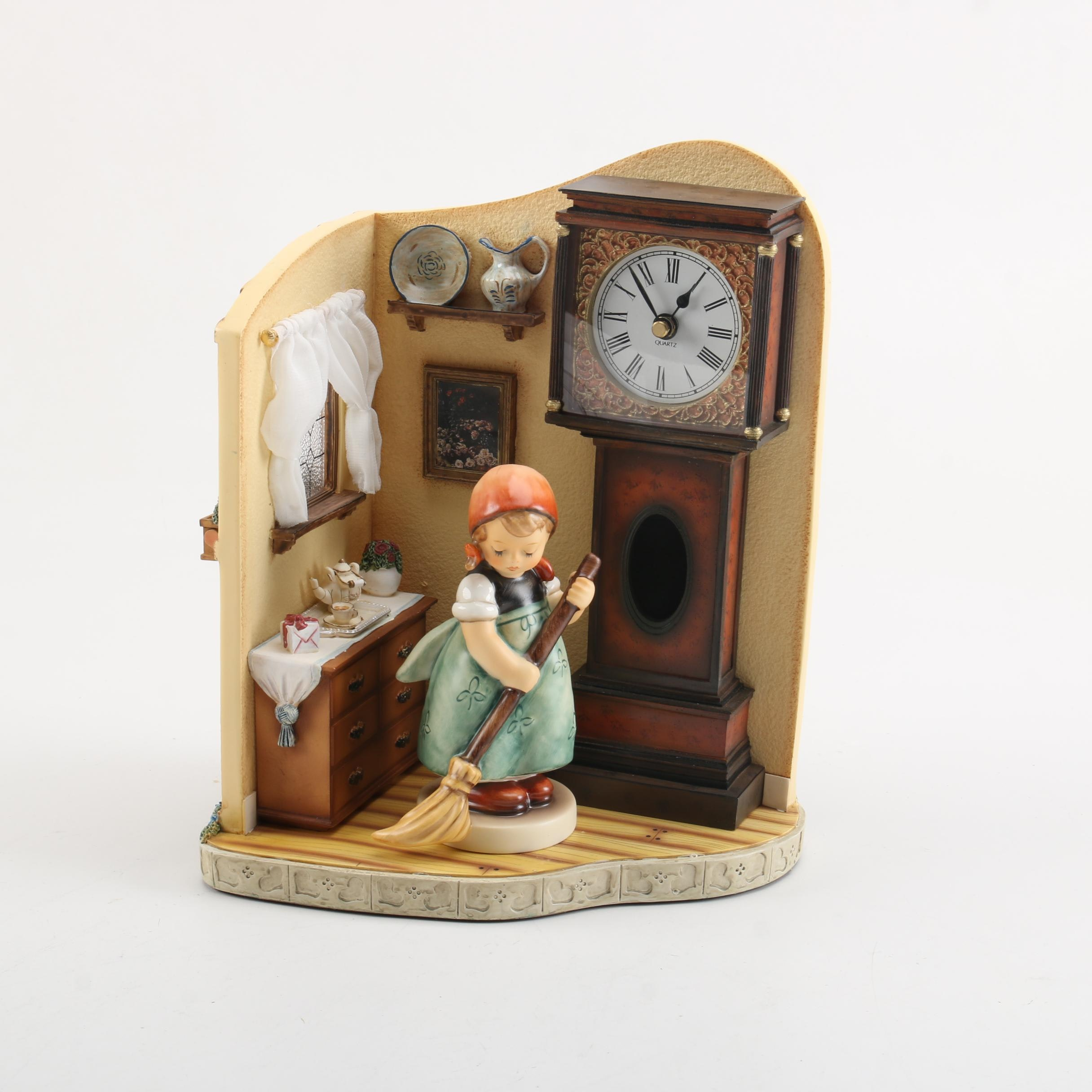 "Final Issue ""Little Sweeper"" Goebel Figurine and Grandfather Clock Display"