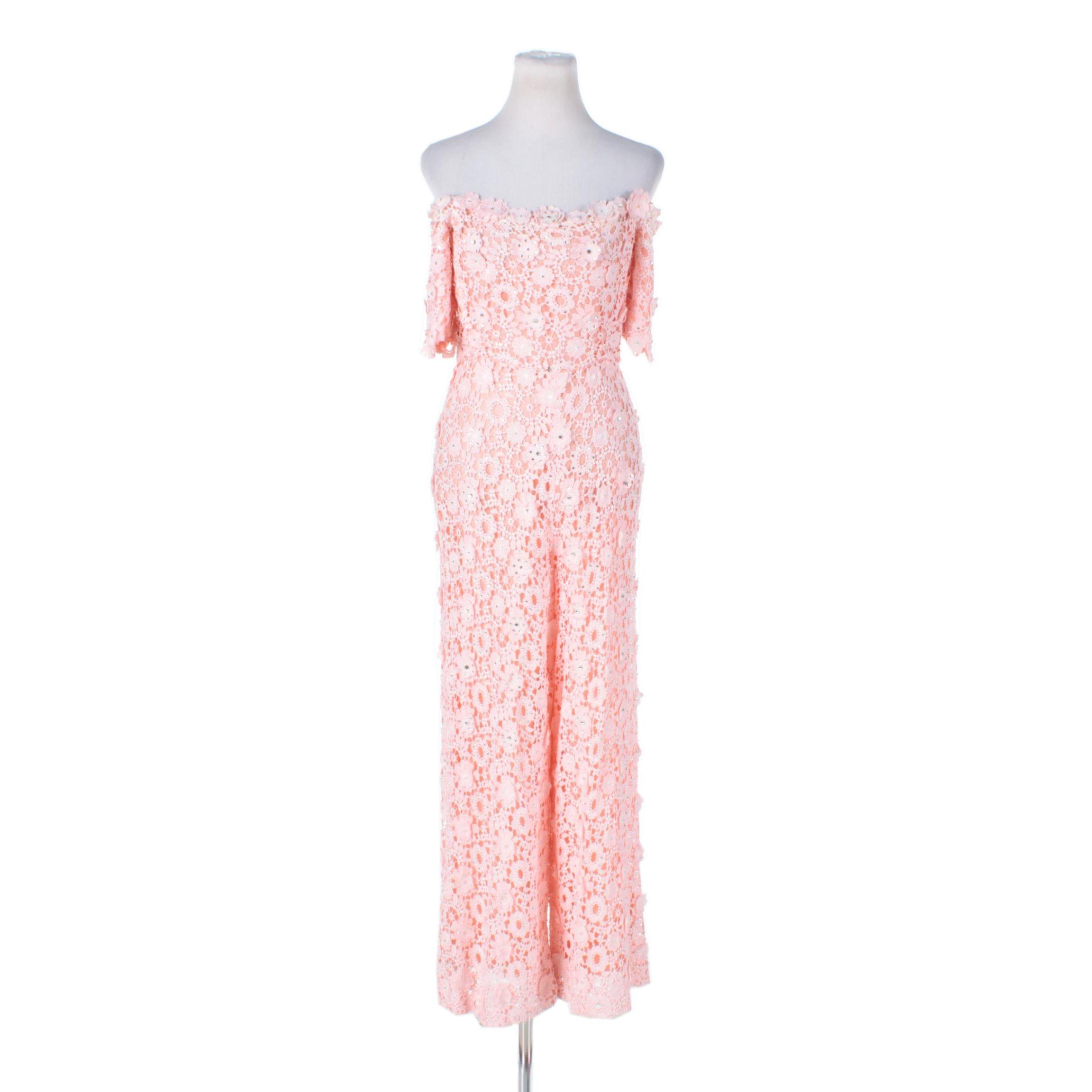 Circa 1970s Vintage Pink Lace Jumpsuit