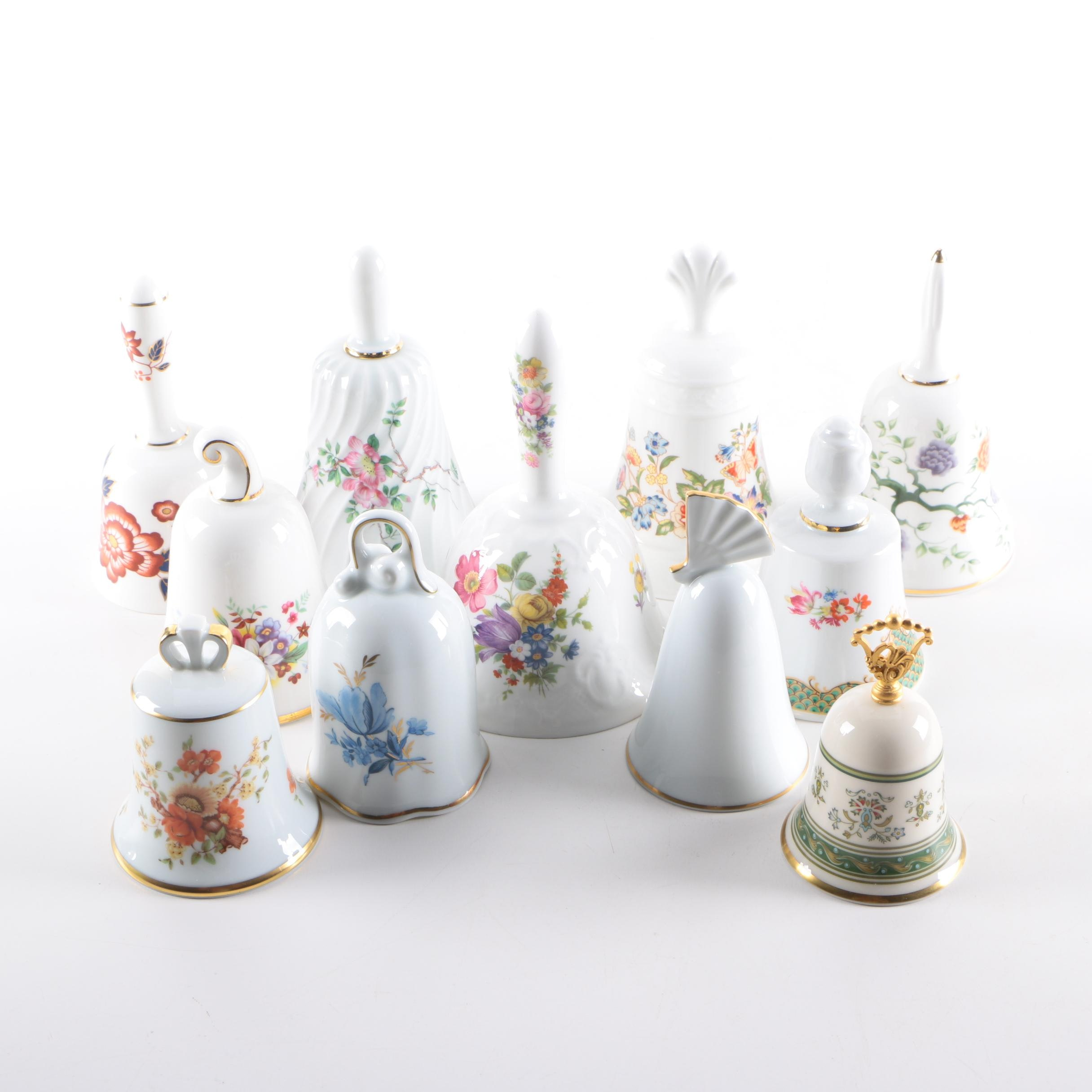 Decorative Porcelain Bells, Including Limoges and Crown for The Danbury Mint