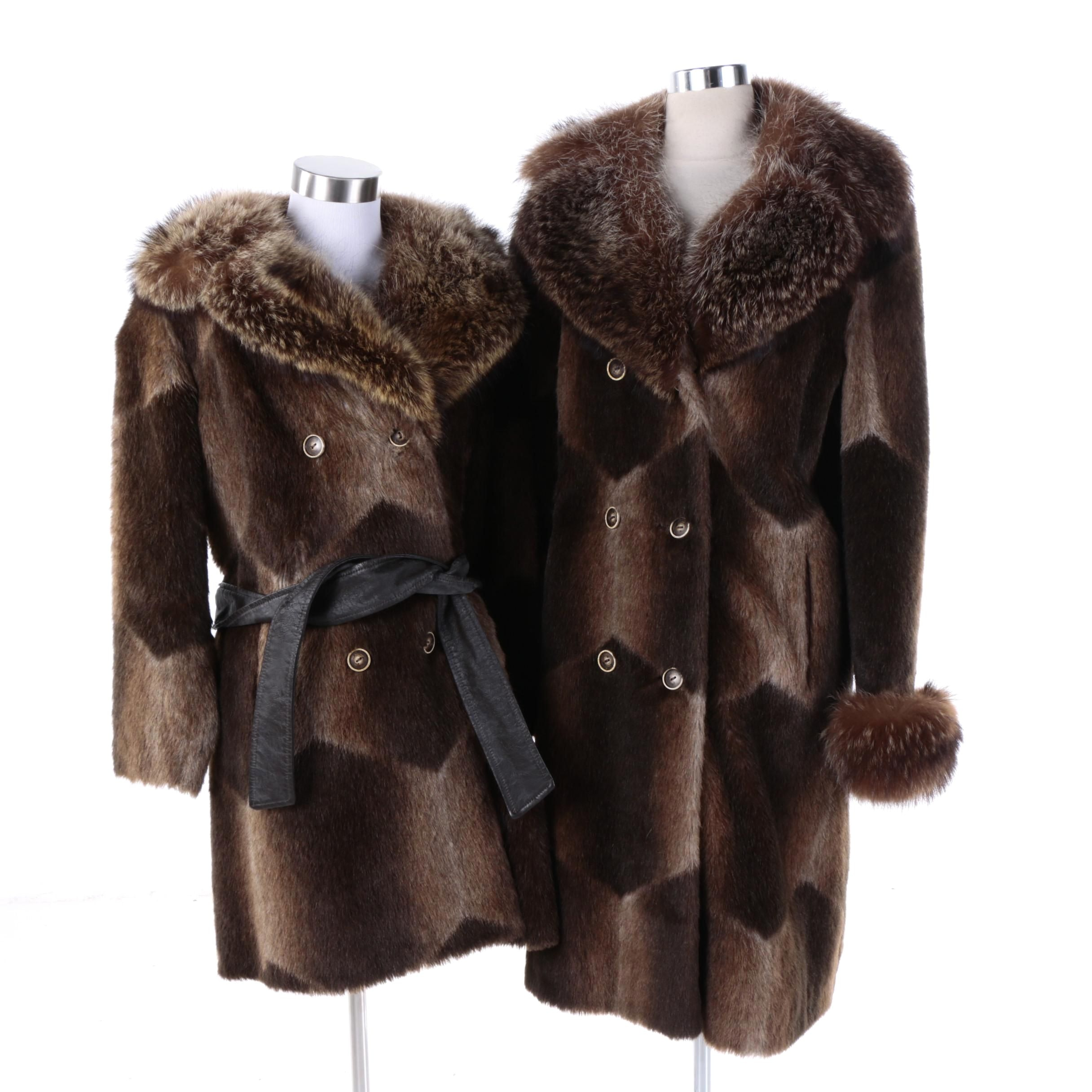 Circa 1960s Vintage Faux Fur Coats with Raccoon and Fox Fur Collars