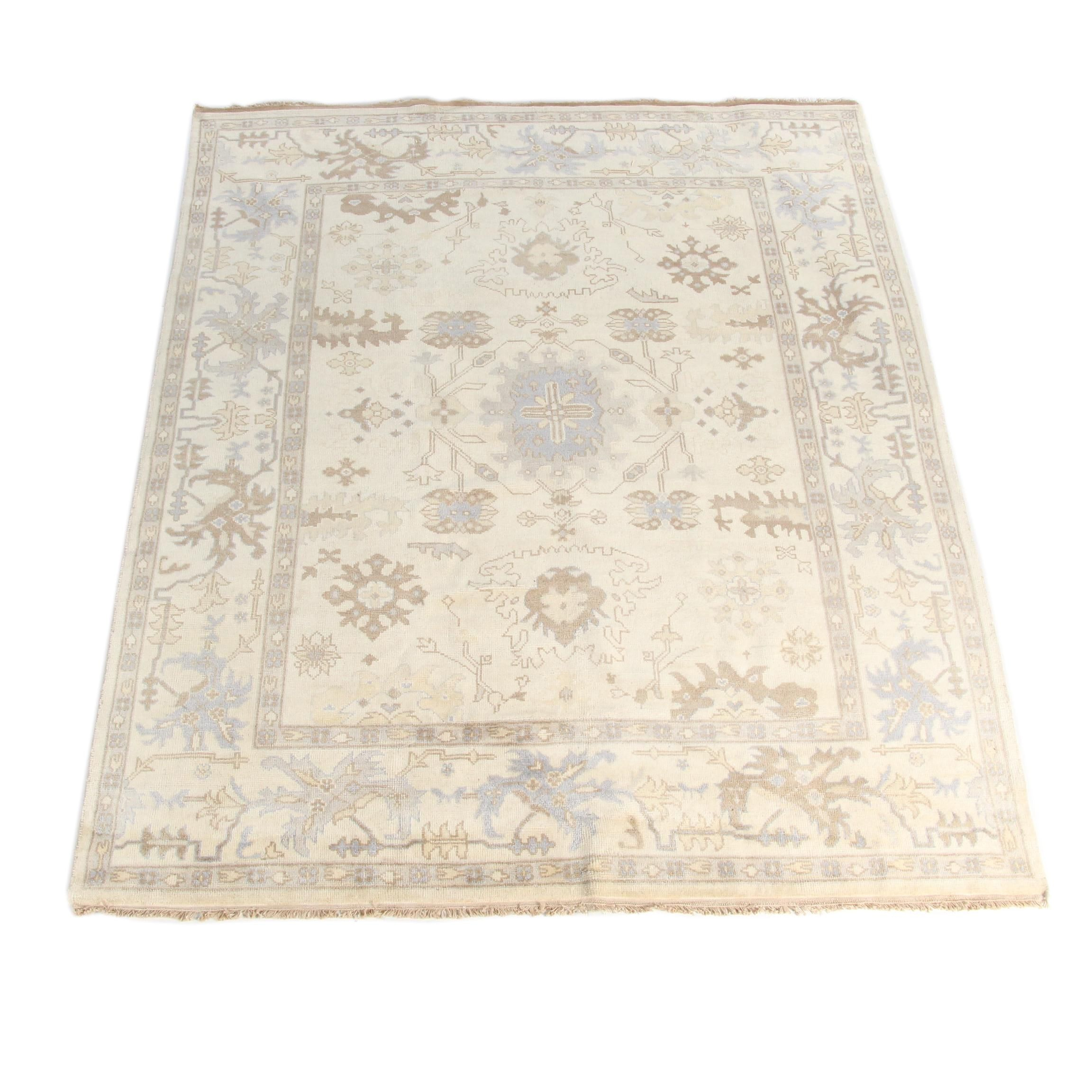 Hand-Knotted Oushak Style Wool Area Rug