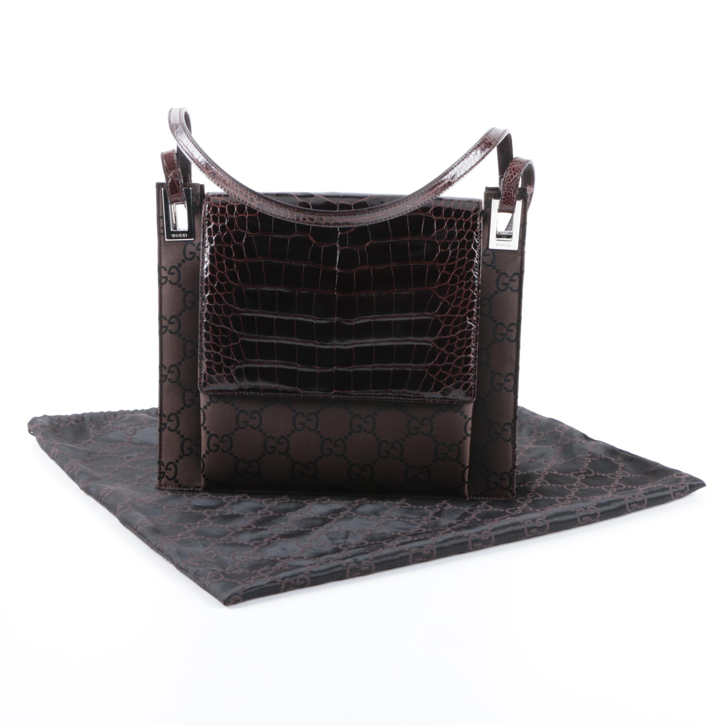 Gucci Monogram Nylon and Alligator Handbag