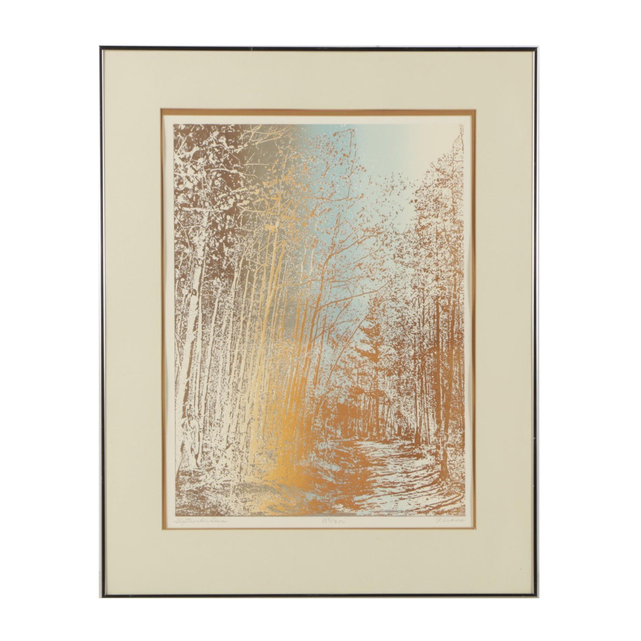 "Paula Crane Embossed Serigraph ""September Sun"""