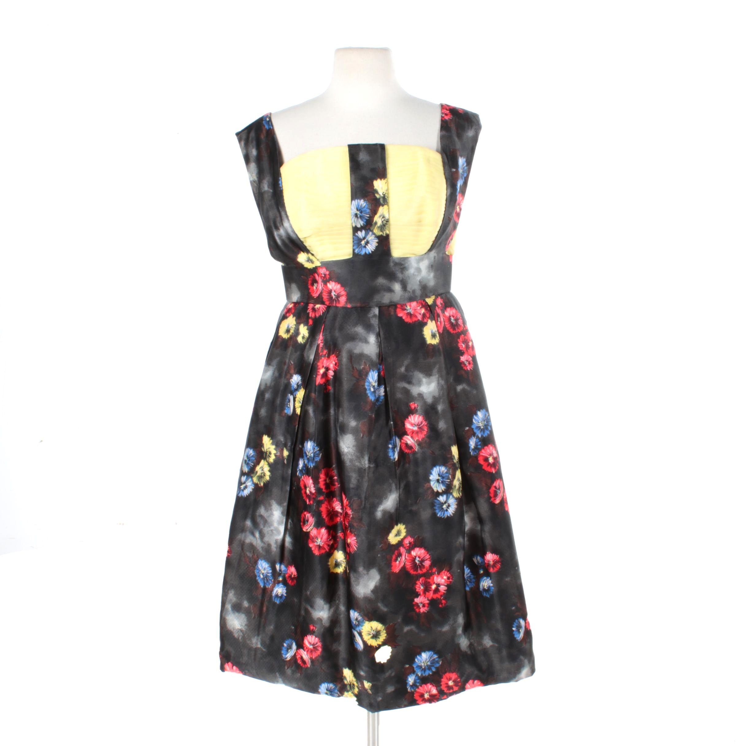 1950s Silk Dark Floral and Yellow Evening Dress with Pleating