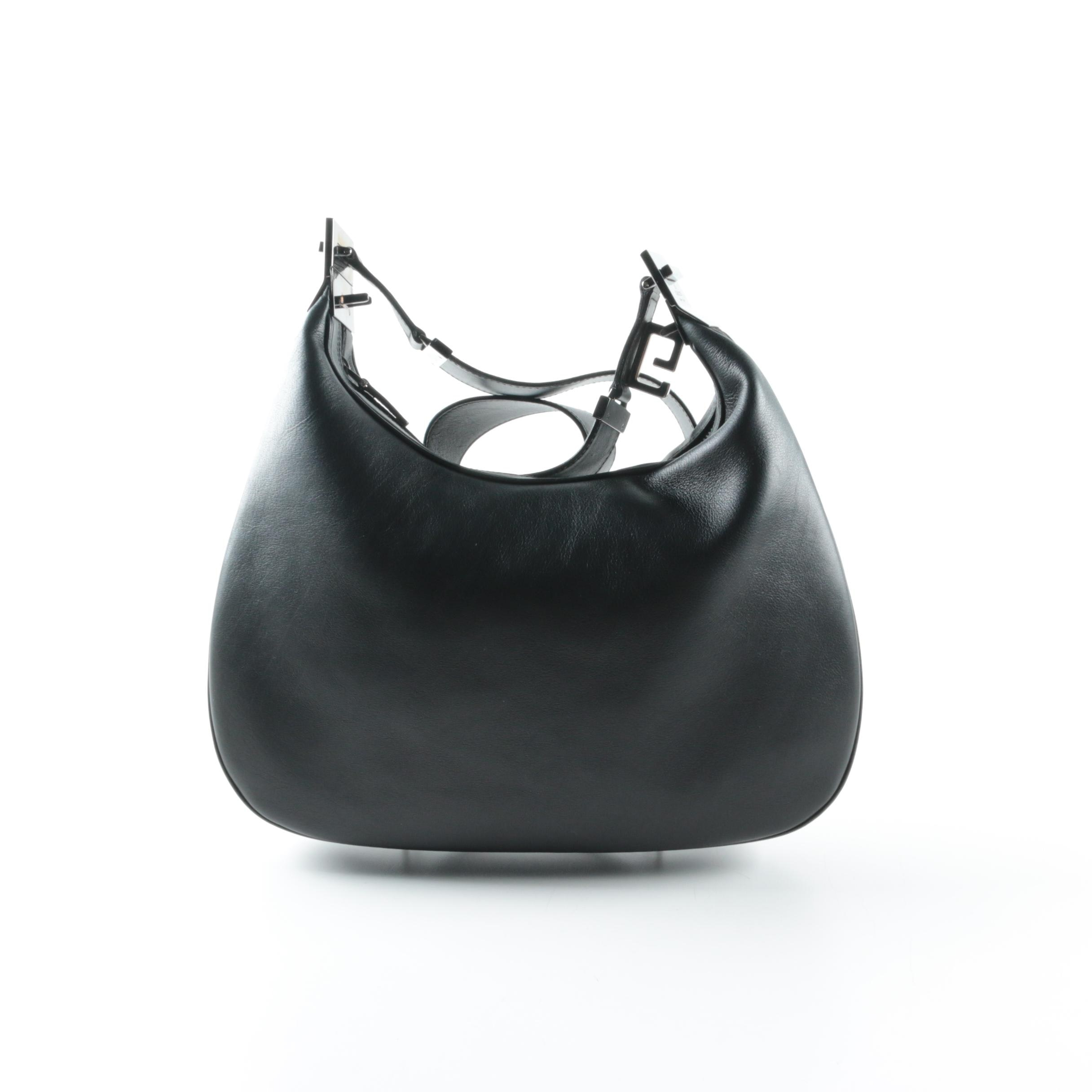 Gucci Black Leather Hobo Handbag