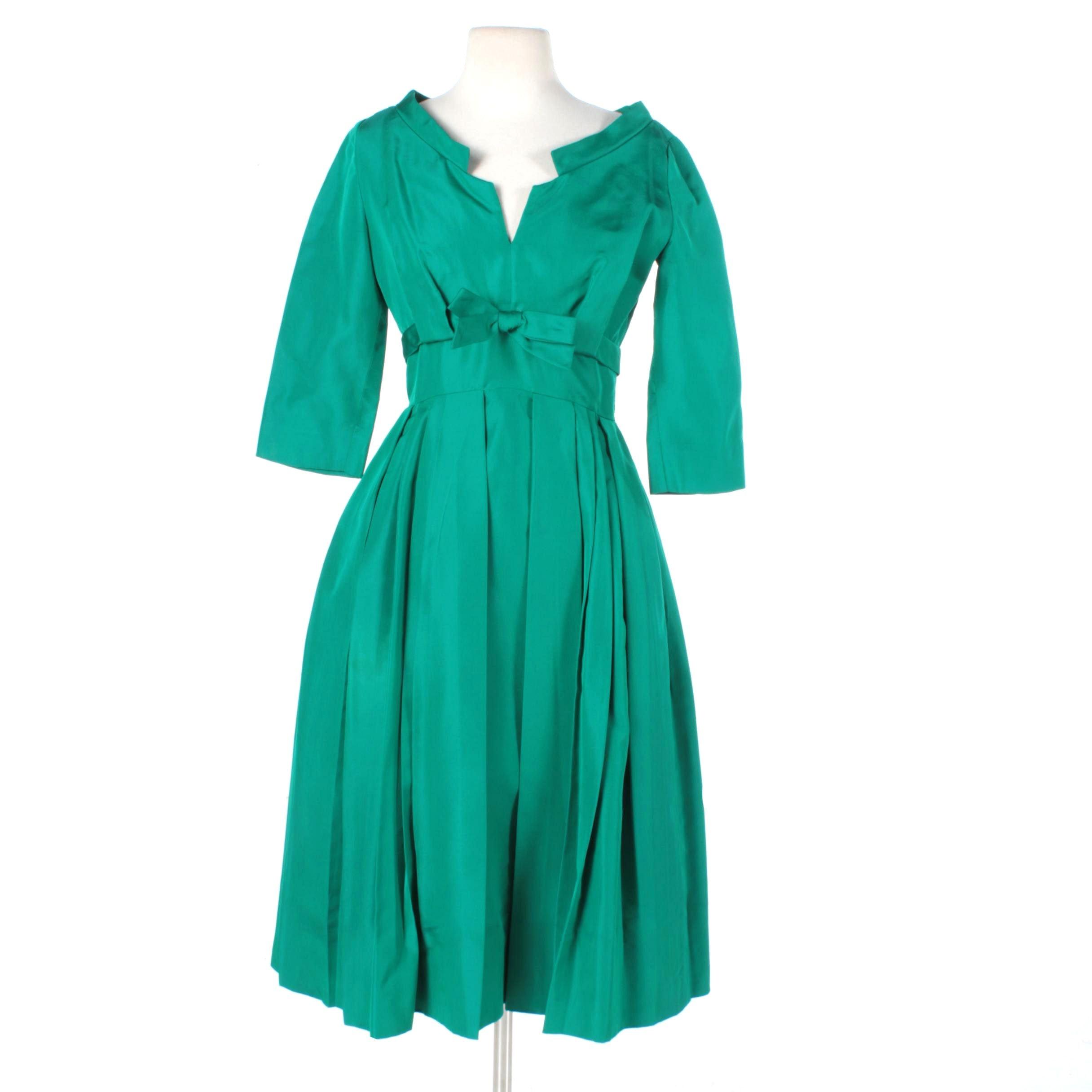 1950s Branell Emerald Green Silk Cocktail Dress