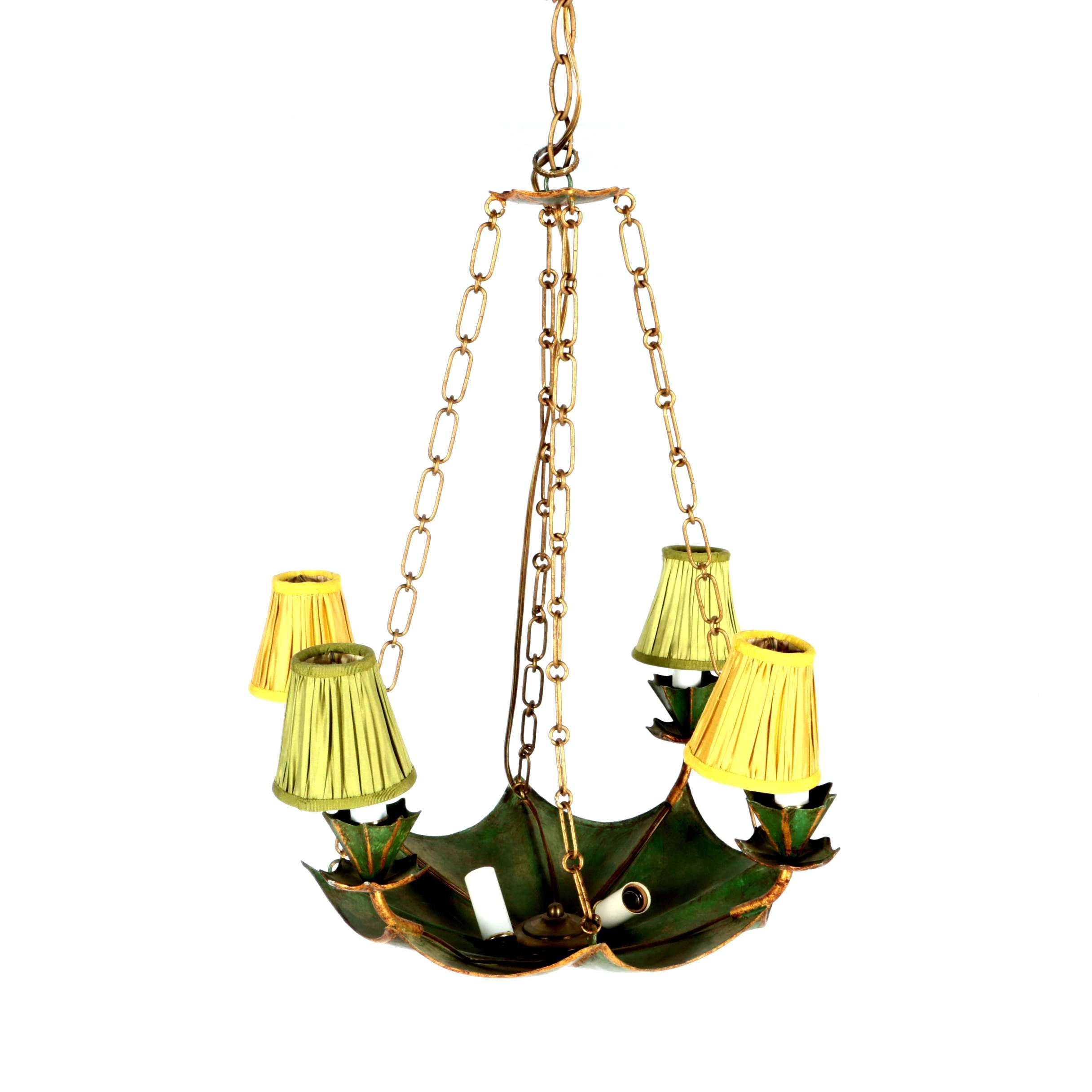 Painted Metal and Brass Chandelier