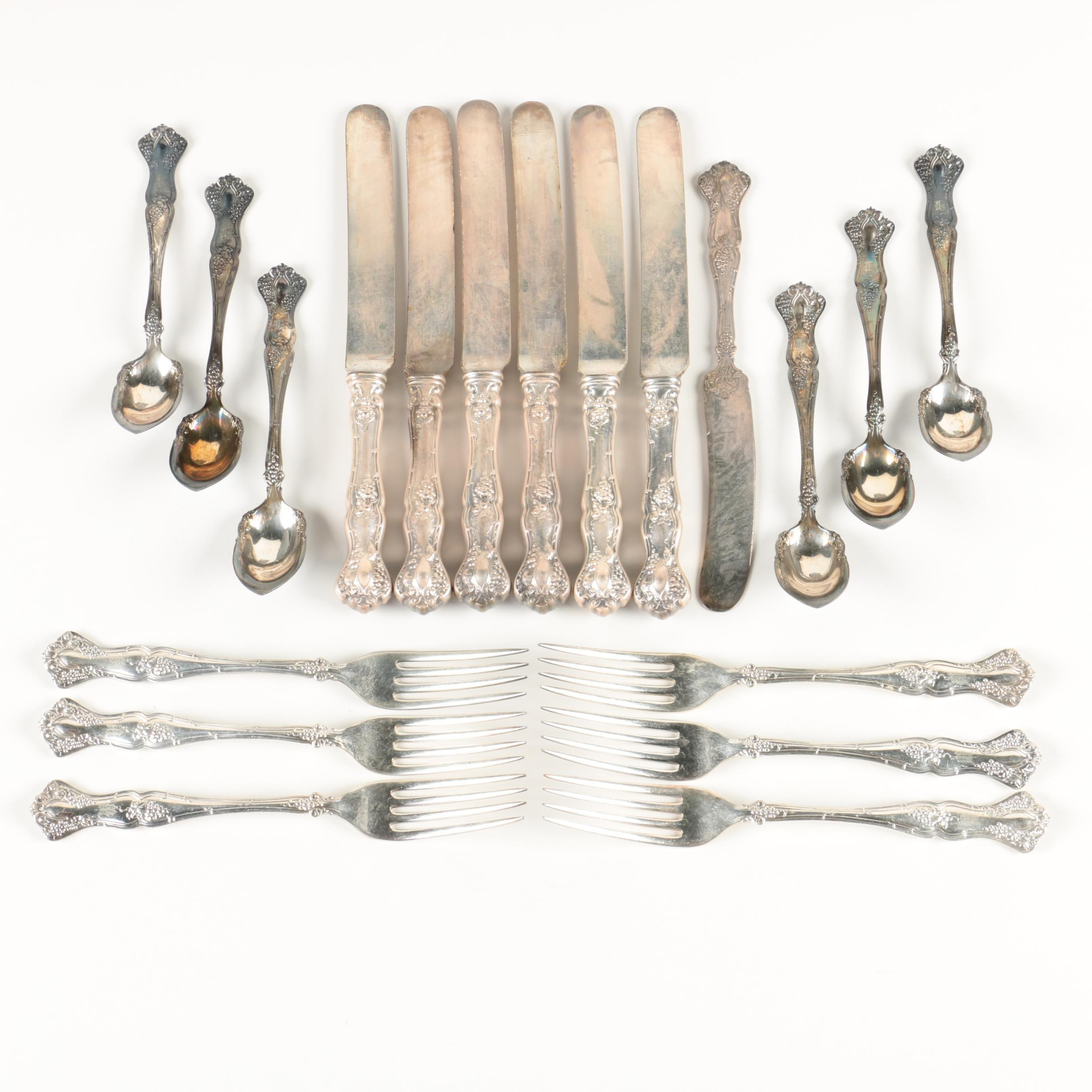 """1847 Rogers Bros """"Vintage"""" Silver Plate Flatware for Six"""