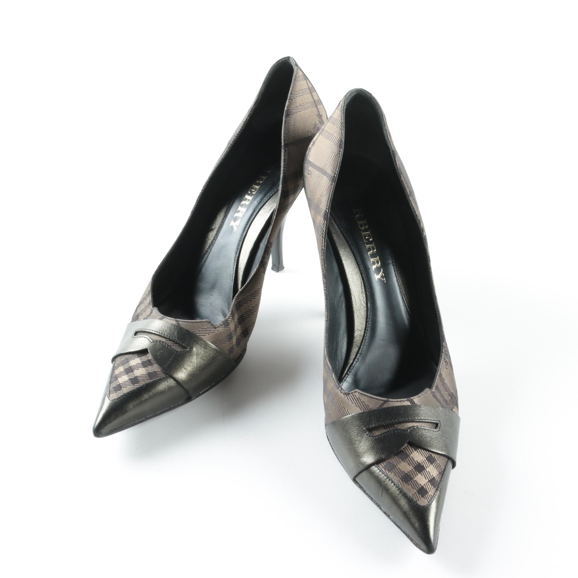 Burberry Canvas Check and Gunmetal Leather Pumps