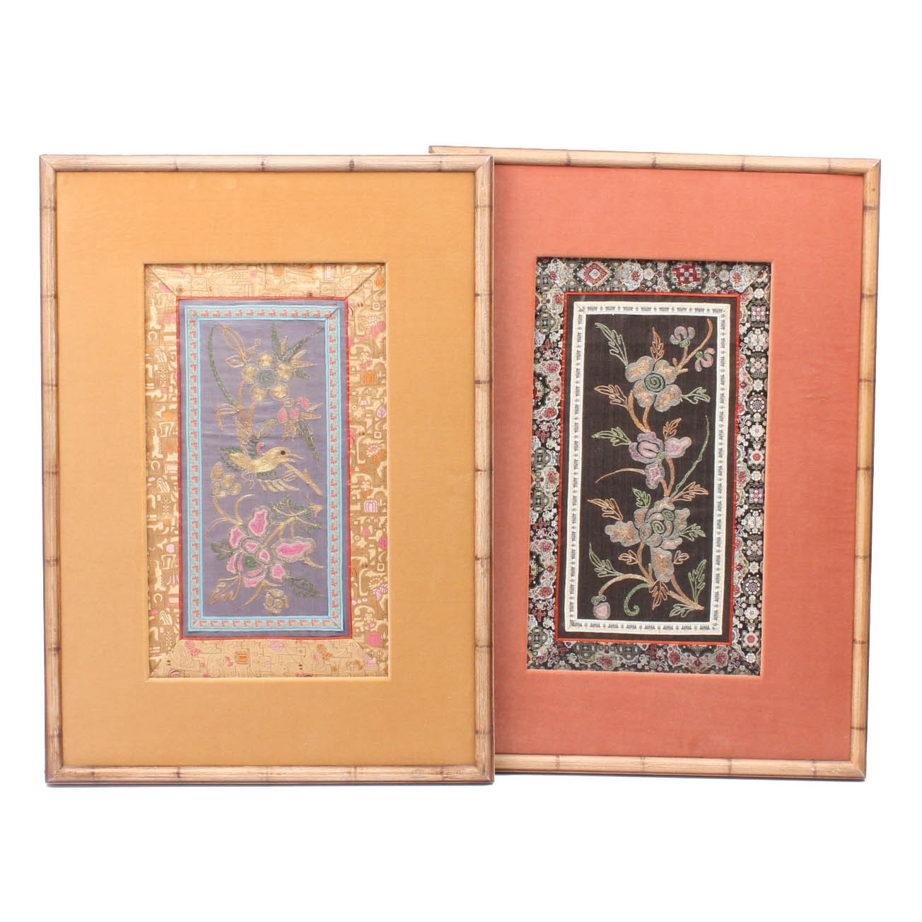Pair of Antique Chinese Flower and Bird Embroidered Panels