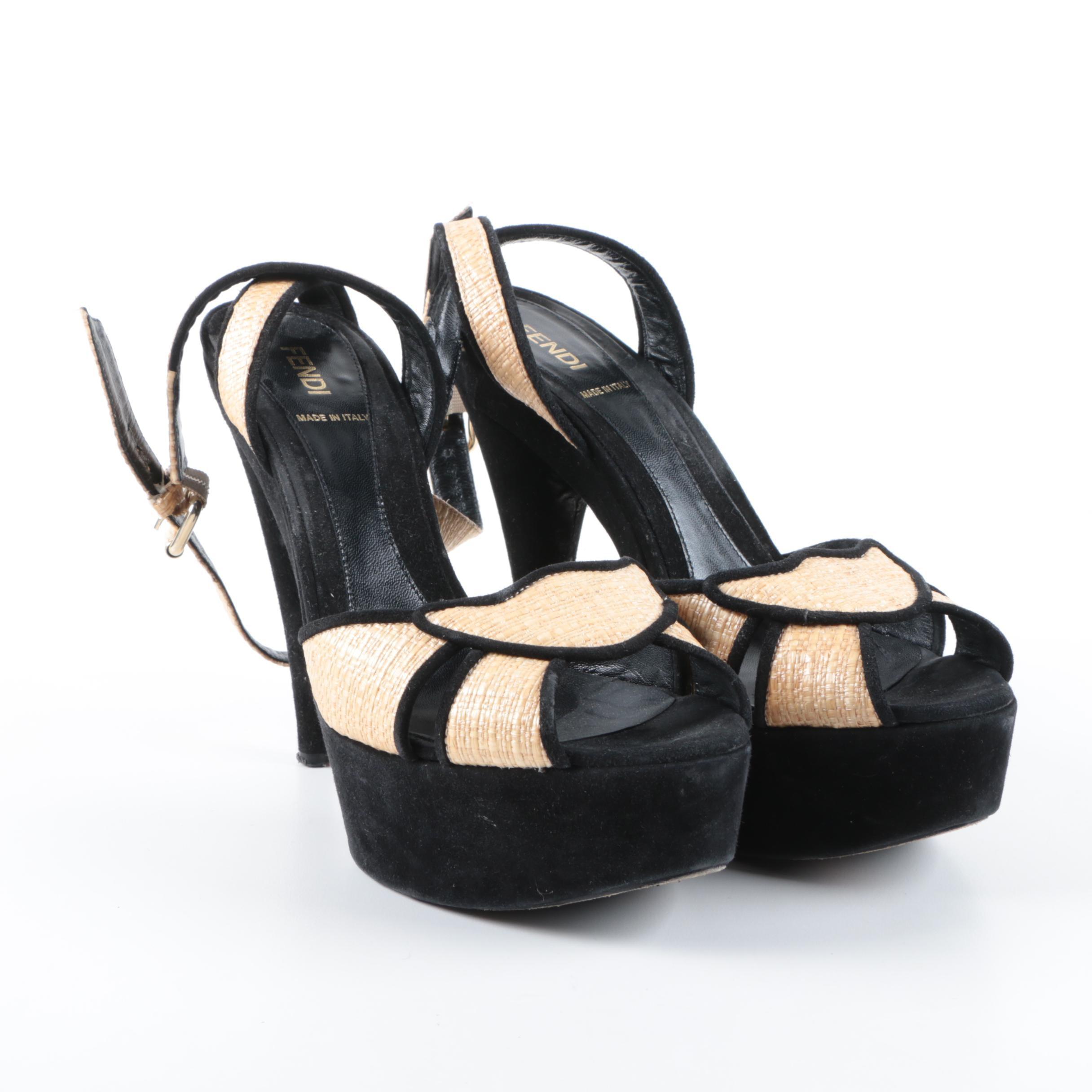 Fendi Black Suede and Raffia Ankle Strap Platform Heels