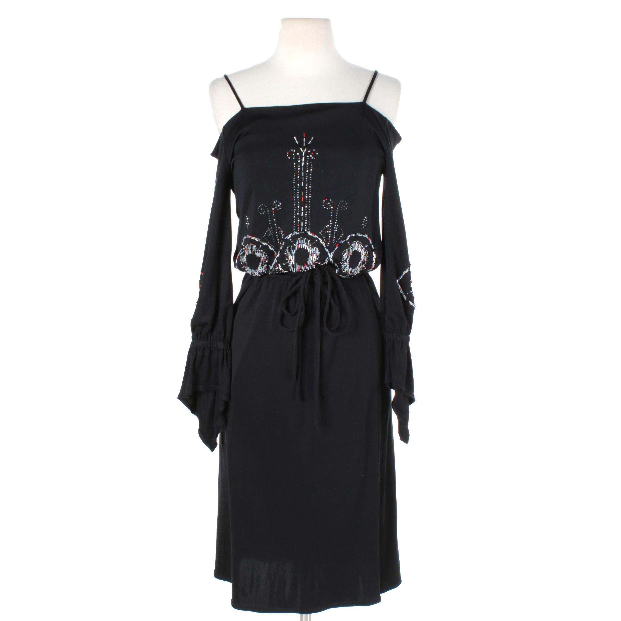 Cacharel Black Eye Beaded Cold Shoulder Dress