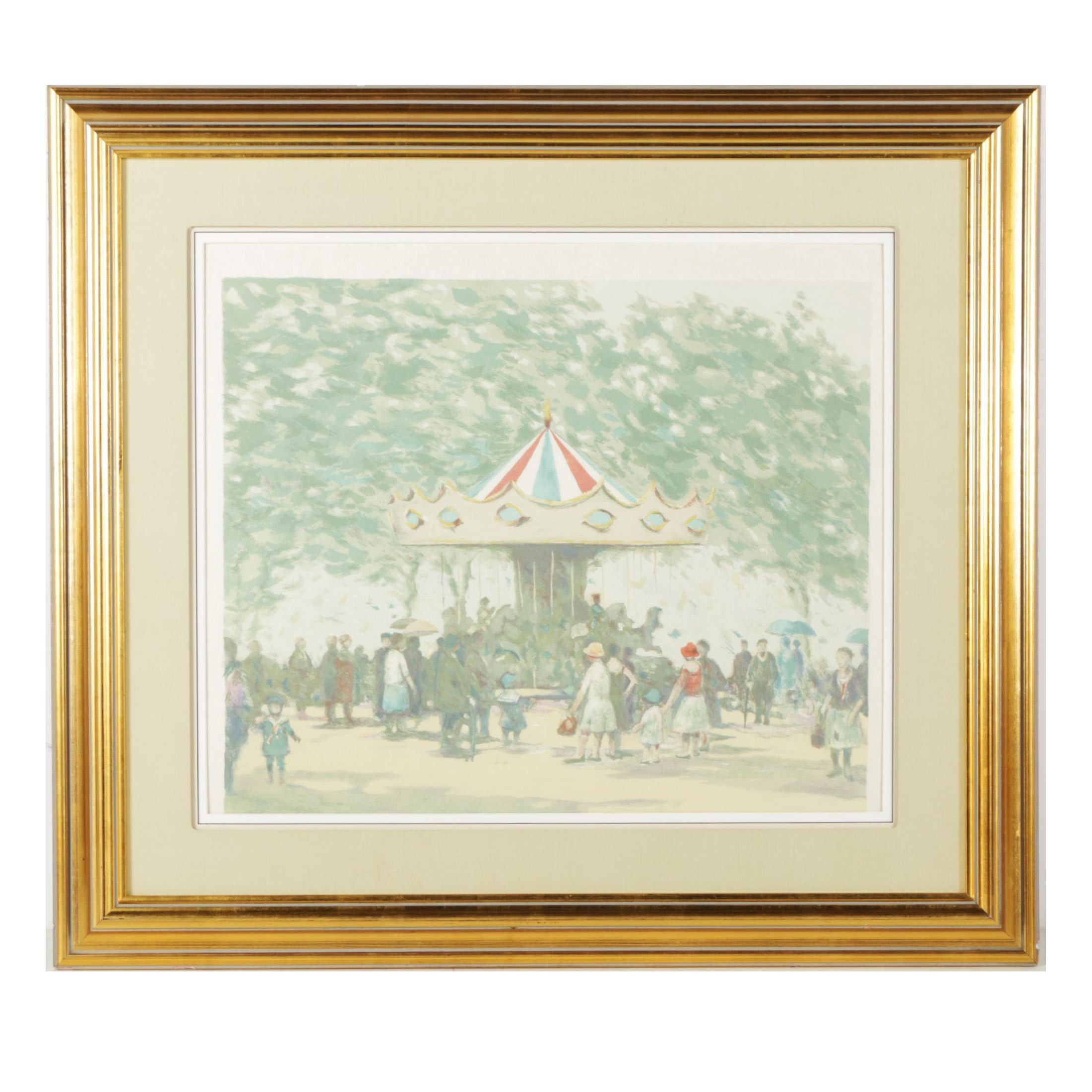 """Late 20th-Century Lithograph Attributed to Grisson """"Carousel"""""""