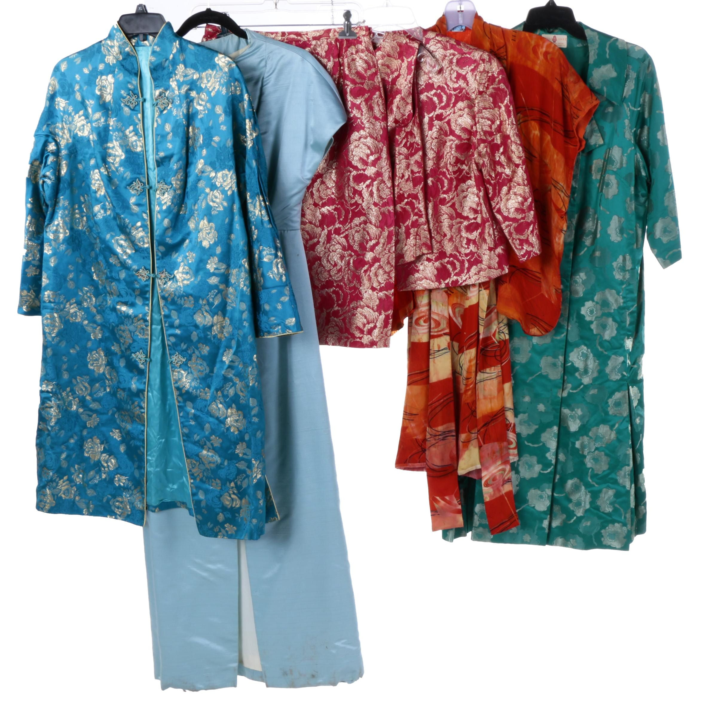 Mid-Century Asian Brocade Dresses and Jacket Including Silk Kimono