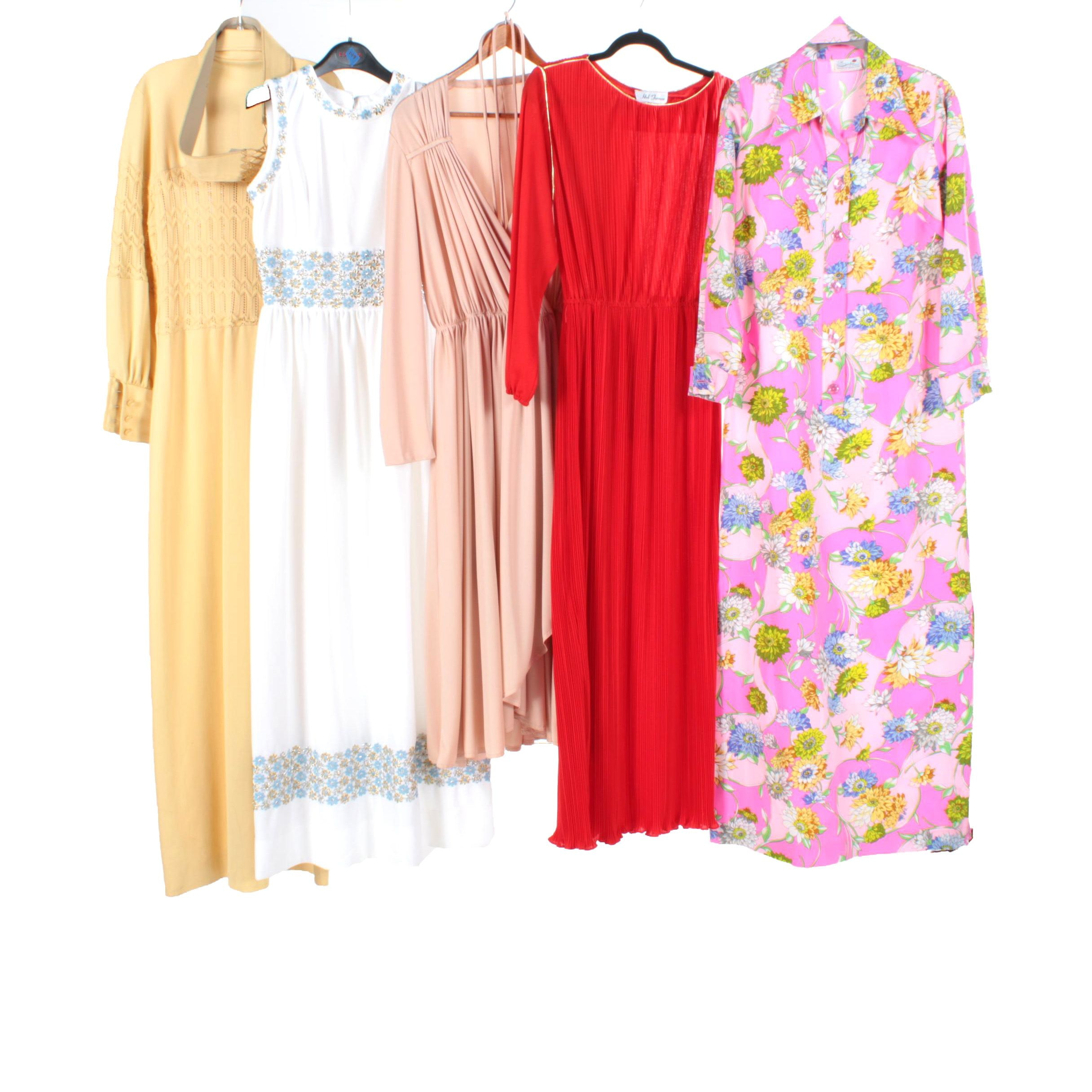 1970s Colorful Maxi Dresses Including Pleated, Floral