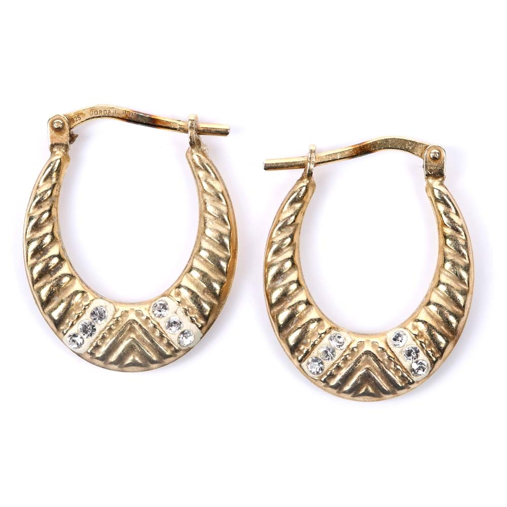 10K Yellow Gold and Crystal Oval Hoop Earrings
