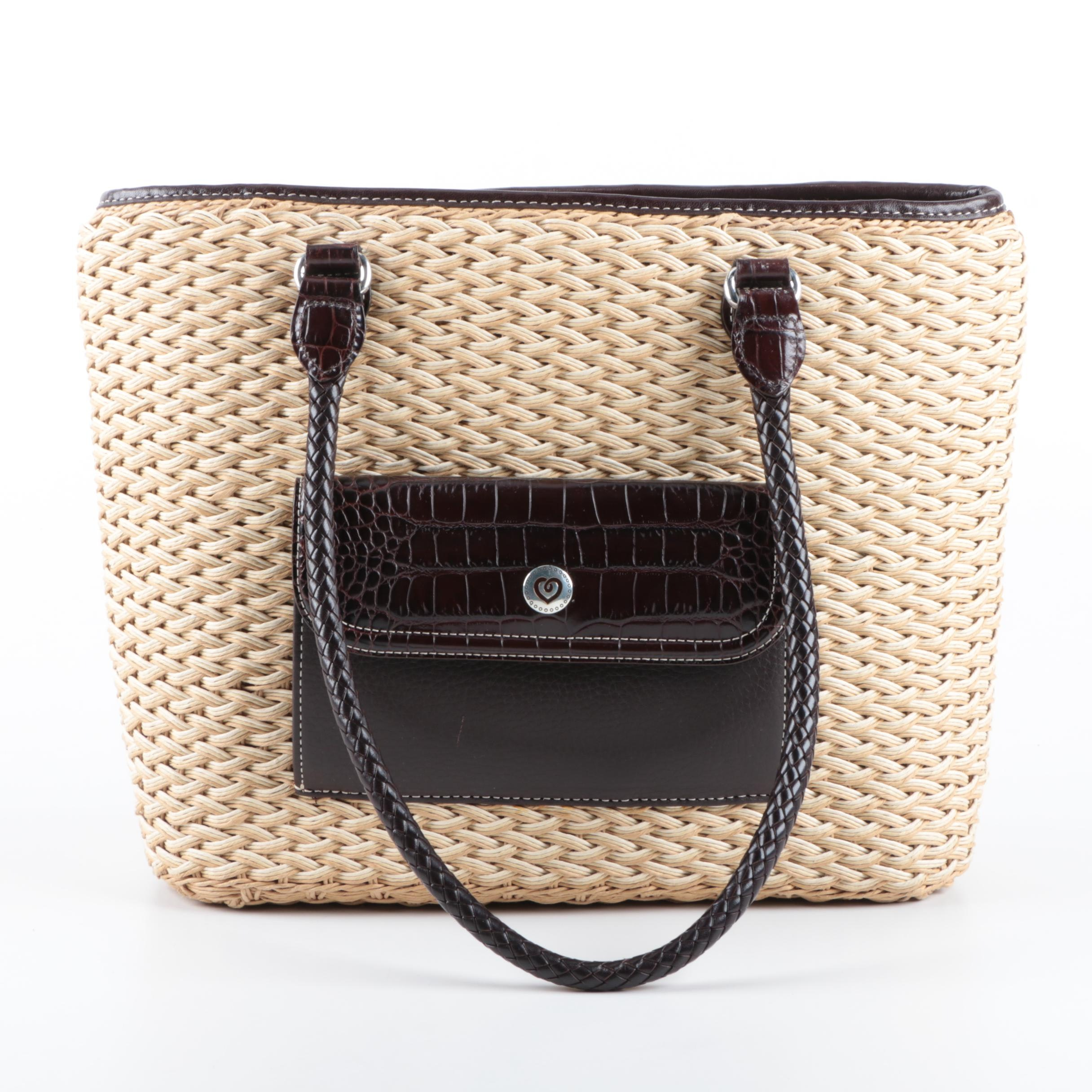 Brighton Wicker and Faux Leather Bag