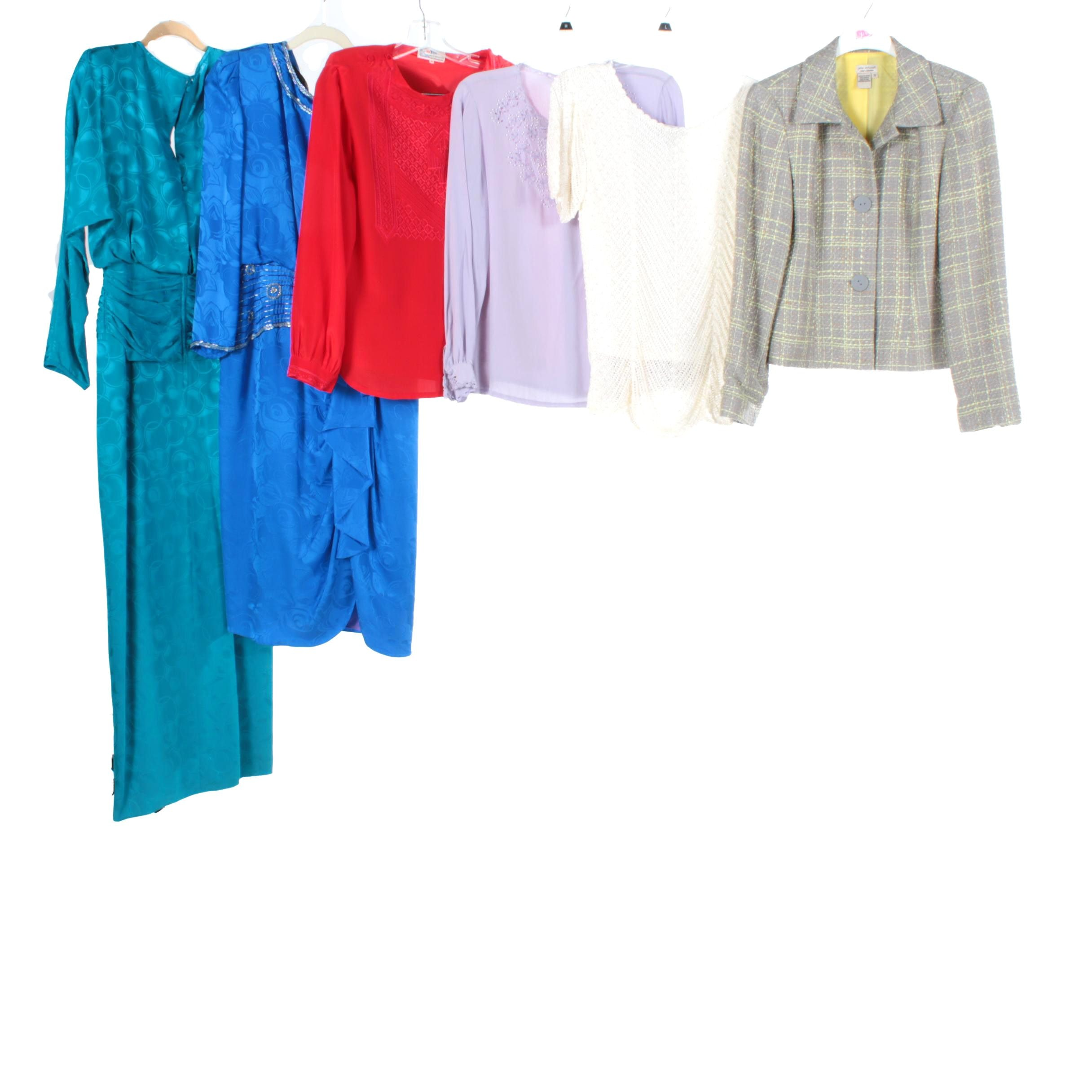 Women's Vintage Clothing Including Silk