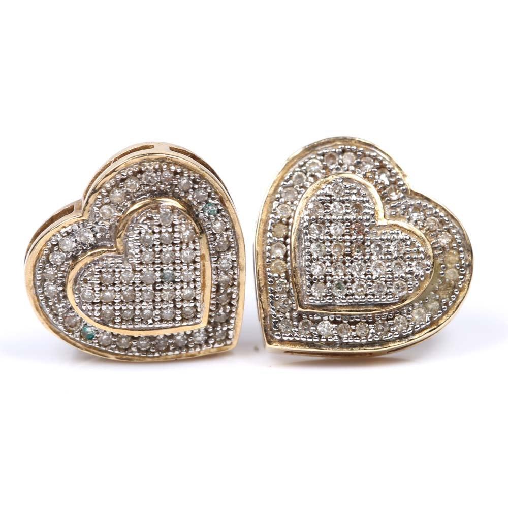 14K Yellow Gold and Diamond Heart Earrings