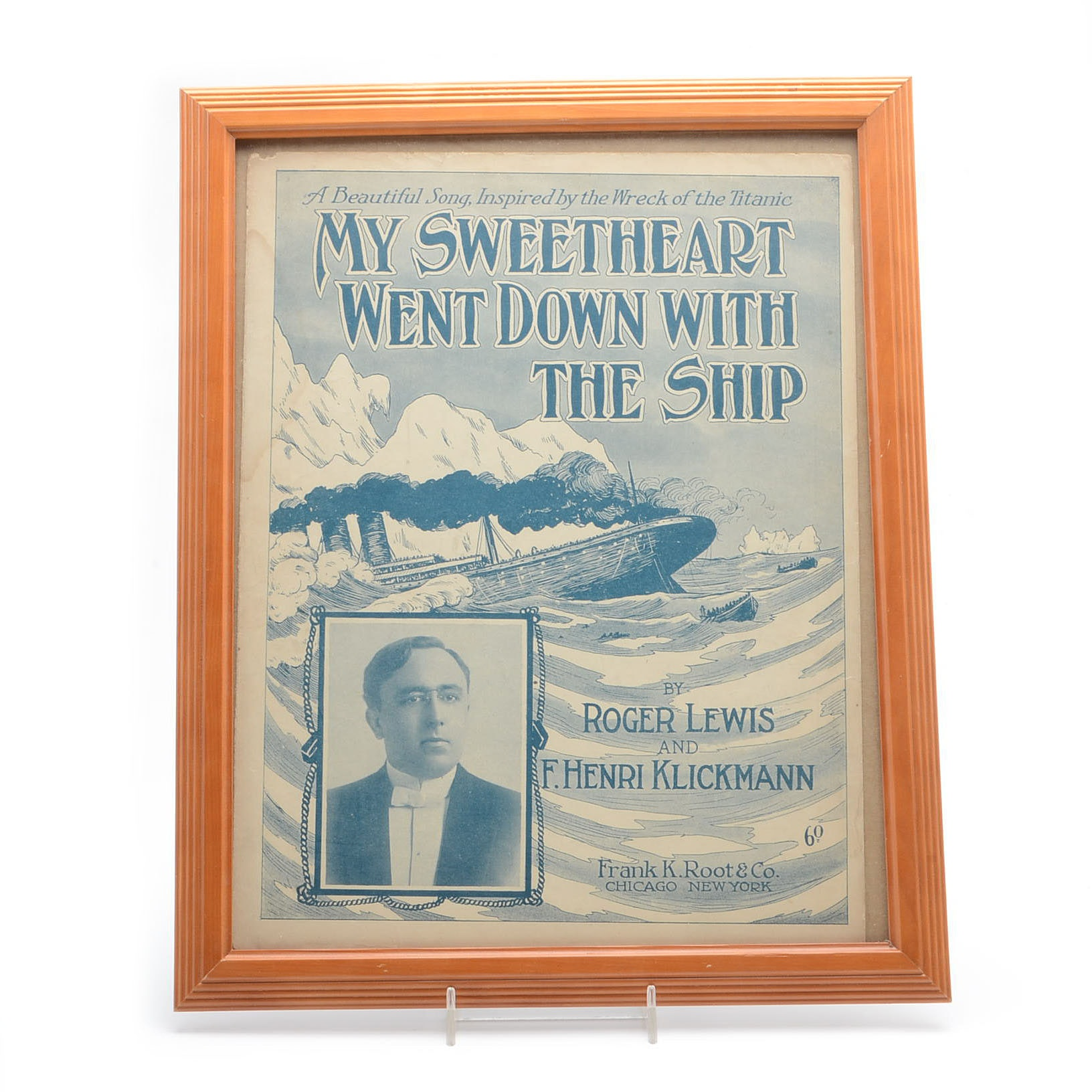 """1912 """"My Sweetheart Went Down With The Ship"""" Titanic Framed Sheet Music"""