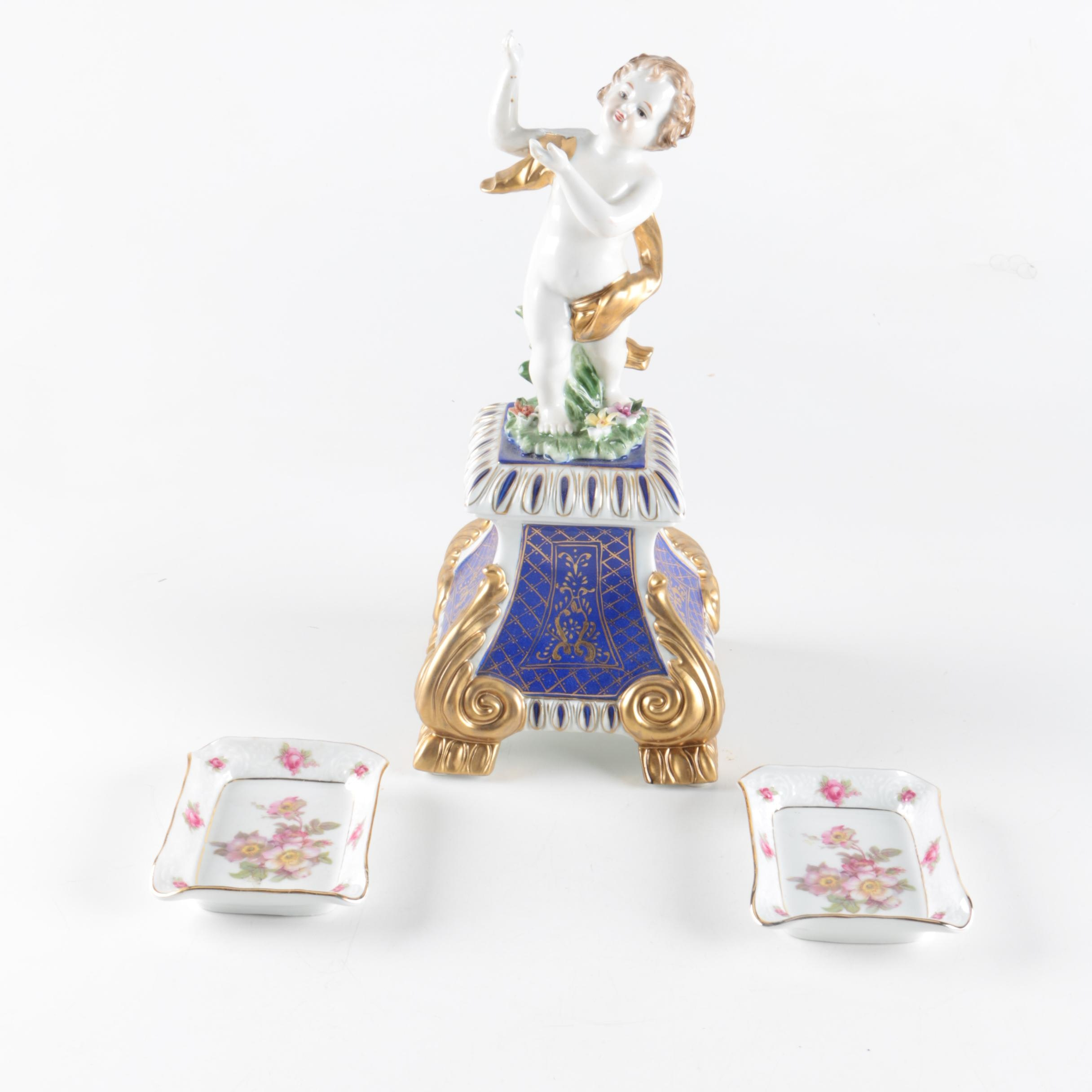 "Richard Klemm Dresden Porcelain Putti Figurine and Schumann Plates ""Wild Rose"""