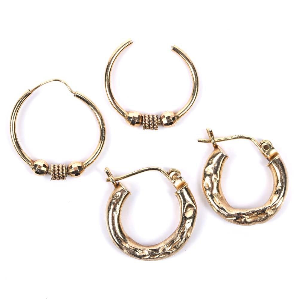 Two Pair of 14K Yellow Gold Hoop Earrings