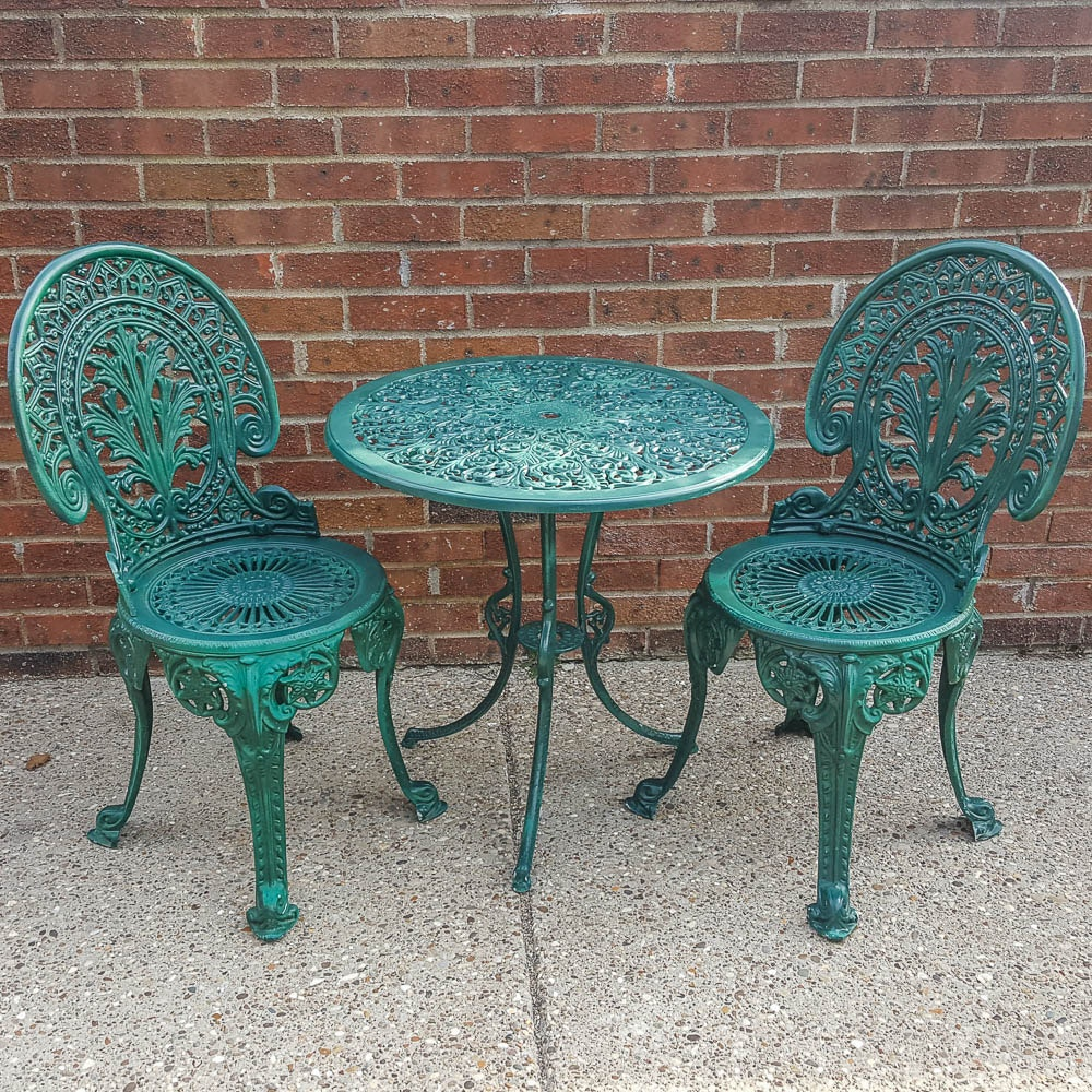 Painted Victorian Style Cast Iron Bistro Set