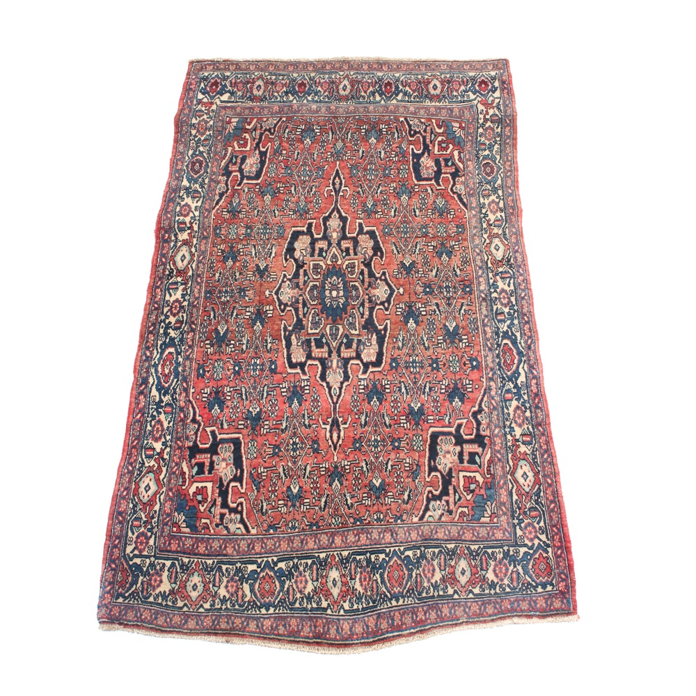Vintage Hand-Knotted Persian Kashan Area Rug