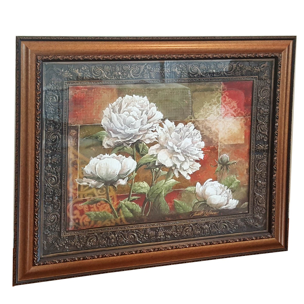 """Offset Lithograph After Janet Stever """"Praise II Peonies"""""""