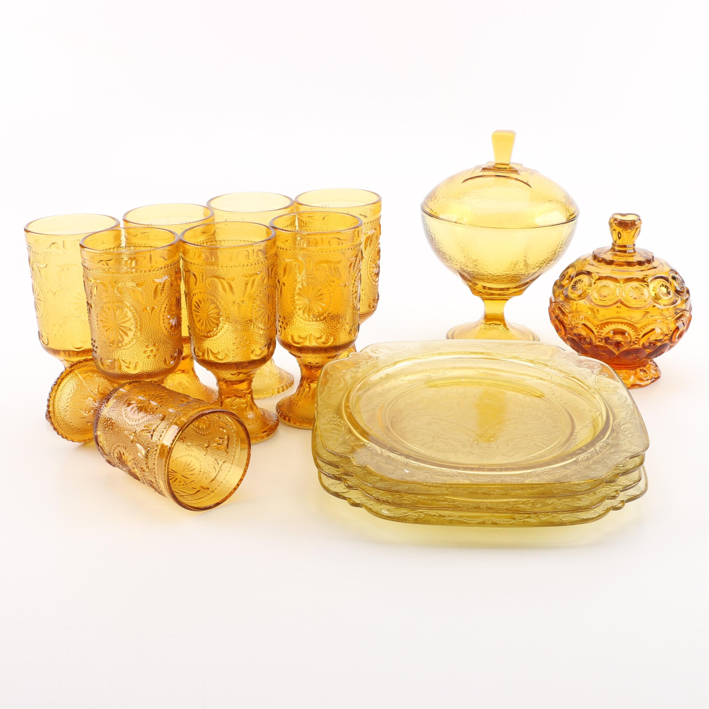Collection of Vintage Amber Glassware