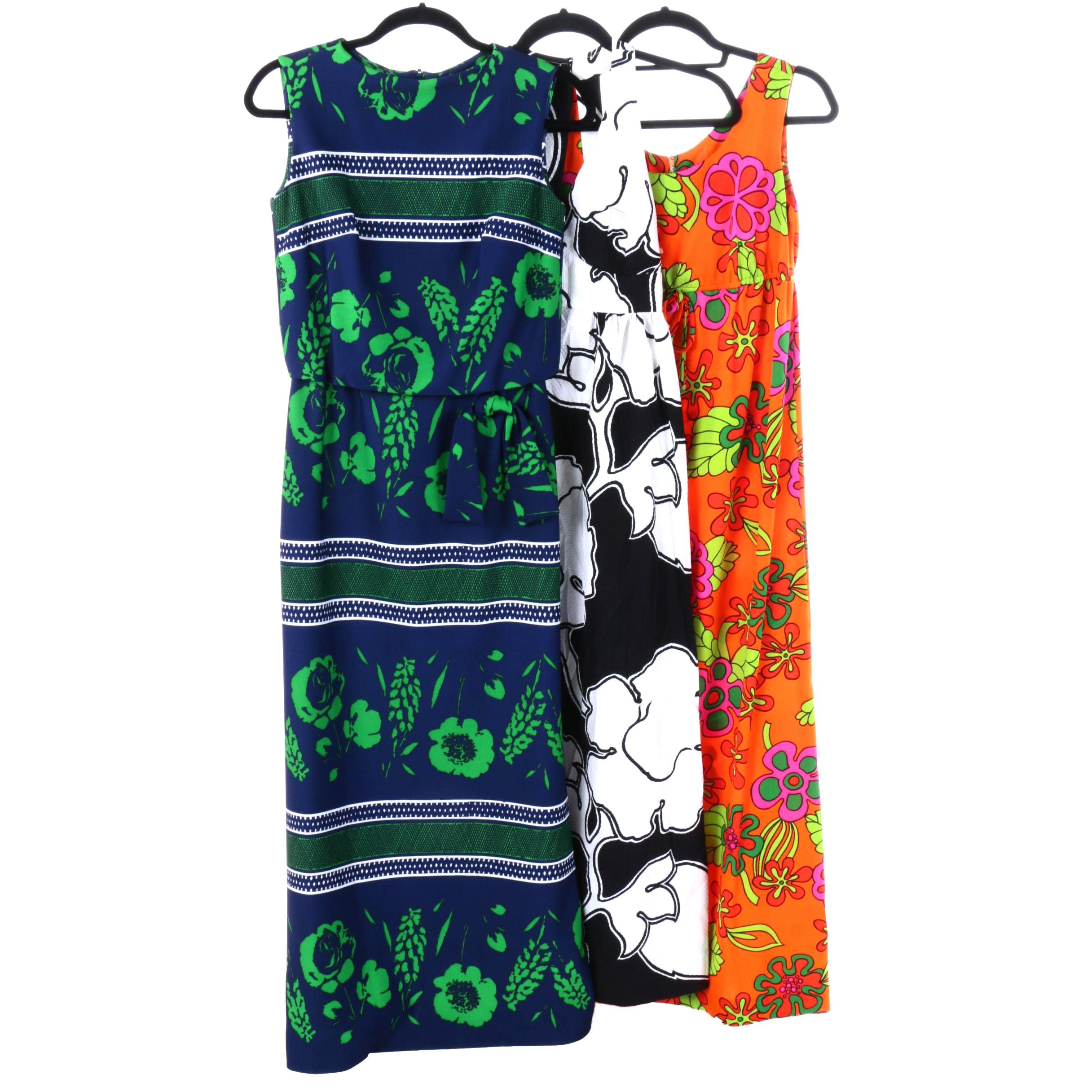 1960s Colorful Hawaiian Floral and Geometric Dresses Including Hilo Hattie