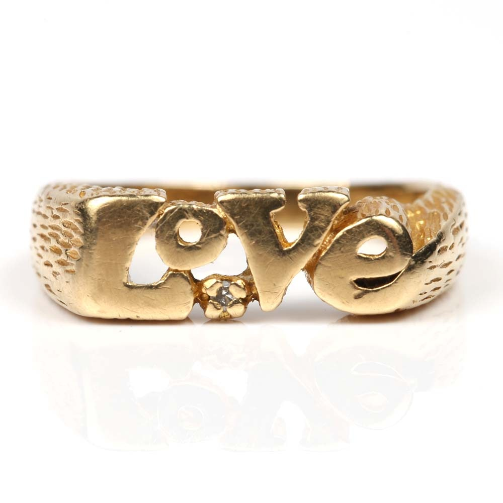 "14K Yellow Gold and Diamond ""LOVE"" Ring"