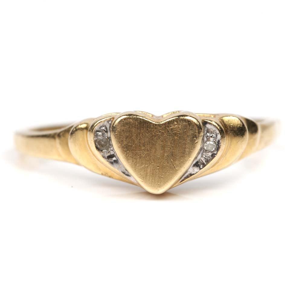 14K Yellow Gold and Diamond Heart Ring