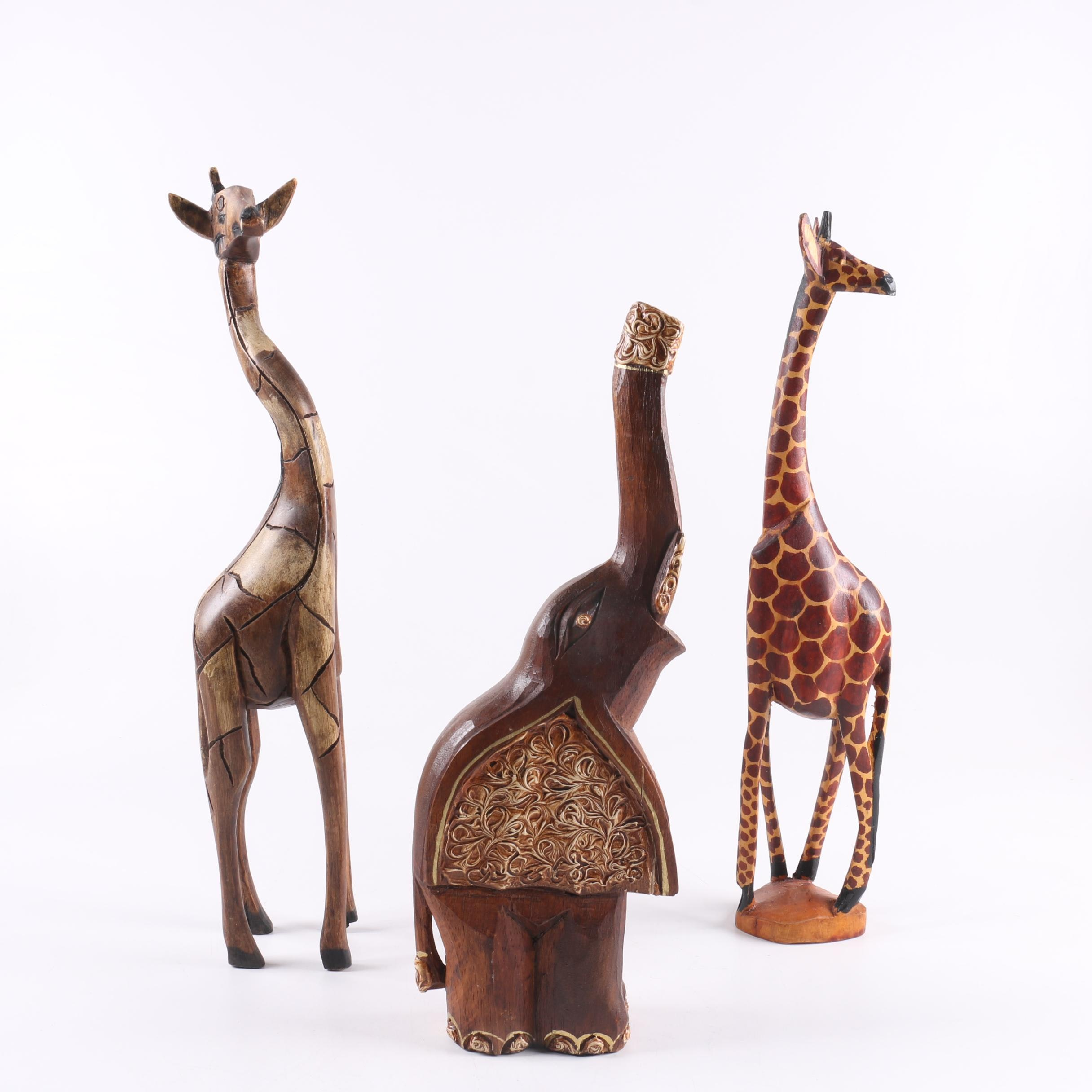 Carved Wooden Animal Figurines