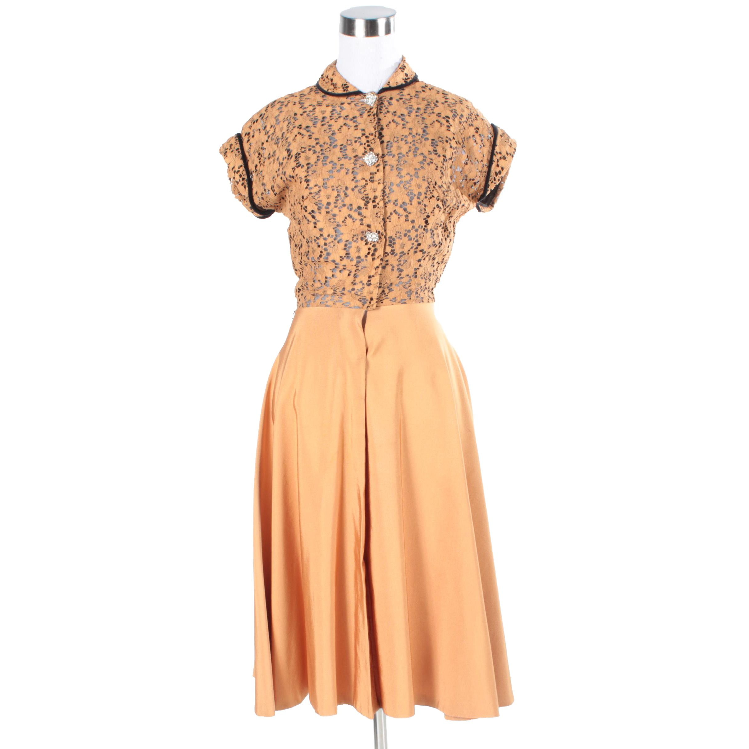 1950s Tangerine Lace Dress with Rhinestone Buttons