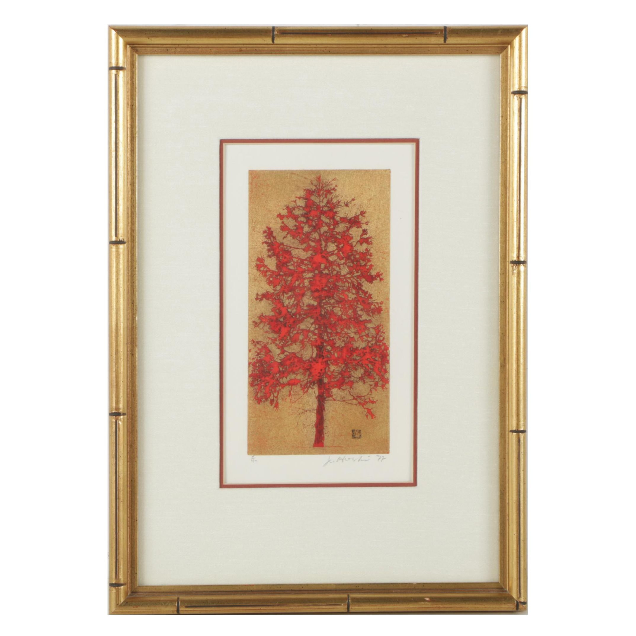 "Joichi Hoshi Serigraph ""Red Tree"""
