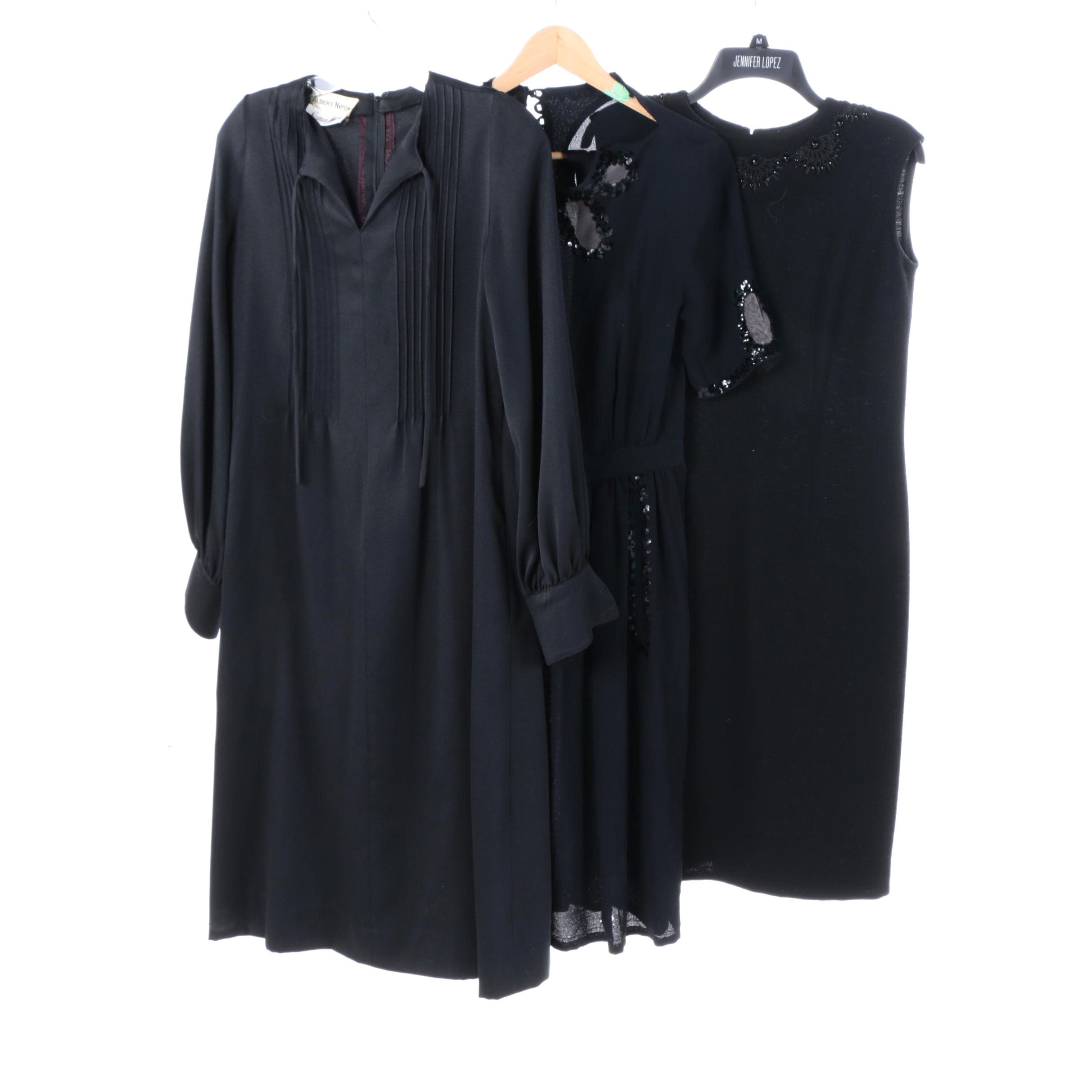 Mid Century Black Dresses Including Albert Nipon, Gino Paoli Italy, Silk