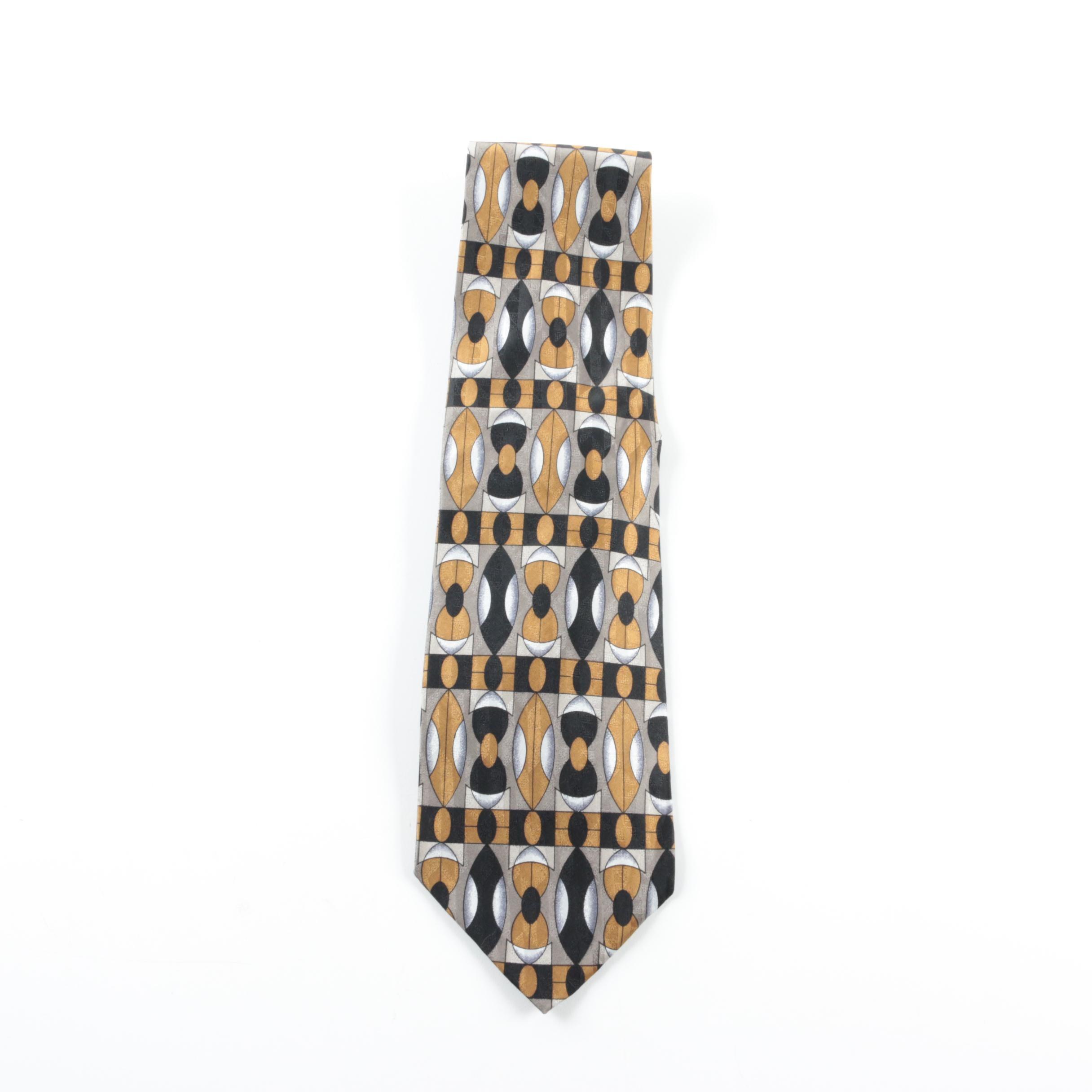 Valentino Silk Geometric Print Necktie